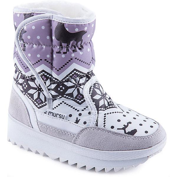 Дутики для девочки MursuОбувь<br>Стильные сапоги от известного бренда MURSU порадуют всех юных модниц. Модель имеет толстую рифленую подошву, отлично защищающую ноги от холода и скольжения, выполнена из высококачественных материалов, очень хорошо смотрится на ноге.  Ботинки с усиленным задником декорированы актуальным принтом, застегиваются на липучку. Прекрасный вариант на холодную погоду. <br><br>Дополнительная информация:<br><br>- Сезон: зима/осень.<br>- Тепловой режим: от -5? до -25? <br>- Цвет: серый, белый, розовый. <br>- Рифленая подошва.<br>- Тип застежки: липучка.<br>- Декоративные элементы: принт. <br><br>Состав:<br>- Материал верха: текстиль/ искусственная замша.<br>- Материал подкладки: искусственная шерсть.<br>- Материал подошвы: TEP.<br>- Материал стельки: искусственная шерсть.<br><br>Сапоги для девочки MURSU (Мурсу) можно купить в нашем магазине.<br>Ширина мм: 257; Глубина мм: 180; Высота мм: 130; Вес г: 420; Цвет: белый; Возраст от месяцев: 84; Возраст до месяцев: 96; Пол: Женский; Возраст: Детский; Размер: 31,34,35,30,32,33; SKU: 4202737;