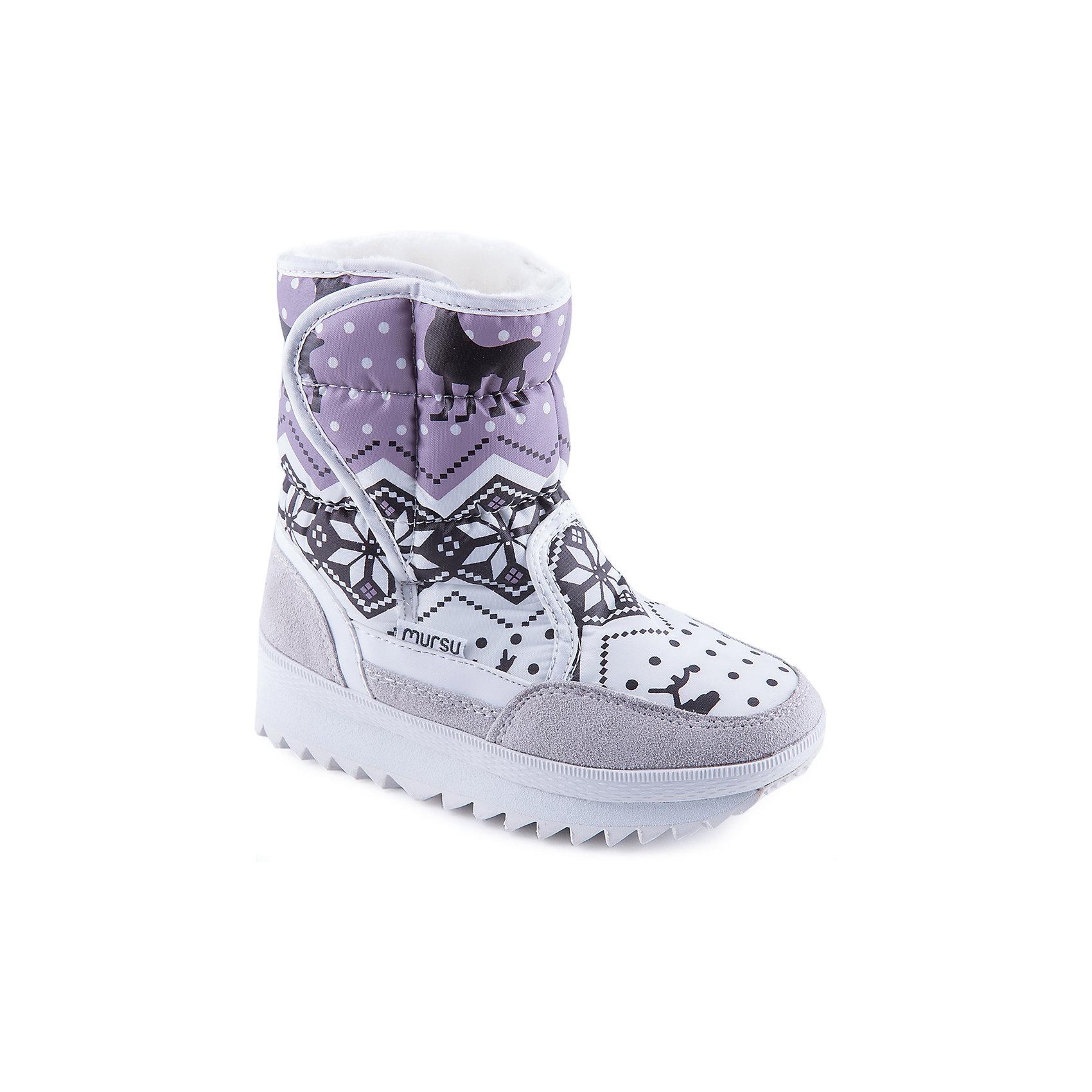 Сапоги для девочки MURSUСтильные сапоги от известного бренда MURSU порадуют всех юных модниц. Модель имеет толстую рифленую подошву, отлично защищающую ноги от холода и скольжения, выполнена из высококачественных материалов, очень хорошо смотрится на ноге.  Ботинки с усиленным задником декорированы актуальным принтом, застегиваются на липучку. Прекрасный вариант на холодную погоду. <br><br>Дополнительная информация:<br><br>- Сезон: зима/осень.<br>- Тепловой режим: от -5? до -25? <br>- Цвет: серый, белый, розовый. <br>- Рифленая подошва.<br>- Тип застежки: липучка.<br>- Декоративные элементы: принт. <br><br>Состав:<br>- Материал верха: текстиль/ искусственная замша.<br>- Материал подкладки: искусственная шерсть.<br>- Материал подошвы: TEP.<br>- Материал стельки: искусственная шерсть.<br><br>Сапоги для девочки MURSU (Мурсу) можно купить в нашем магазине.<br><br>Ширина мм: 257<br>Глубина мм: 180<br>Высота мм: 130<br>Вес г: 420<br>Цвет: белый<br>Возраст от месяцев: 108<br>Возраст до месяцев: 120<br>Пол: Женский<br>Возраст: Детский<br>Размер: 33,32,30,35,34,31<br>SKU: 4202737