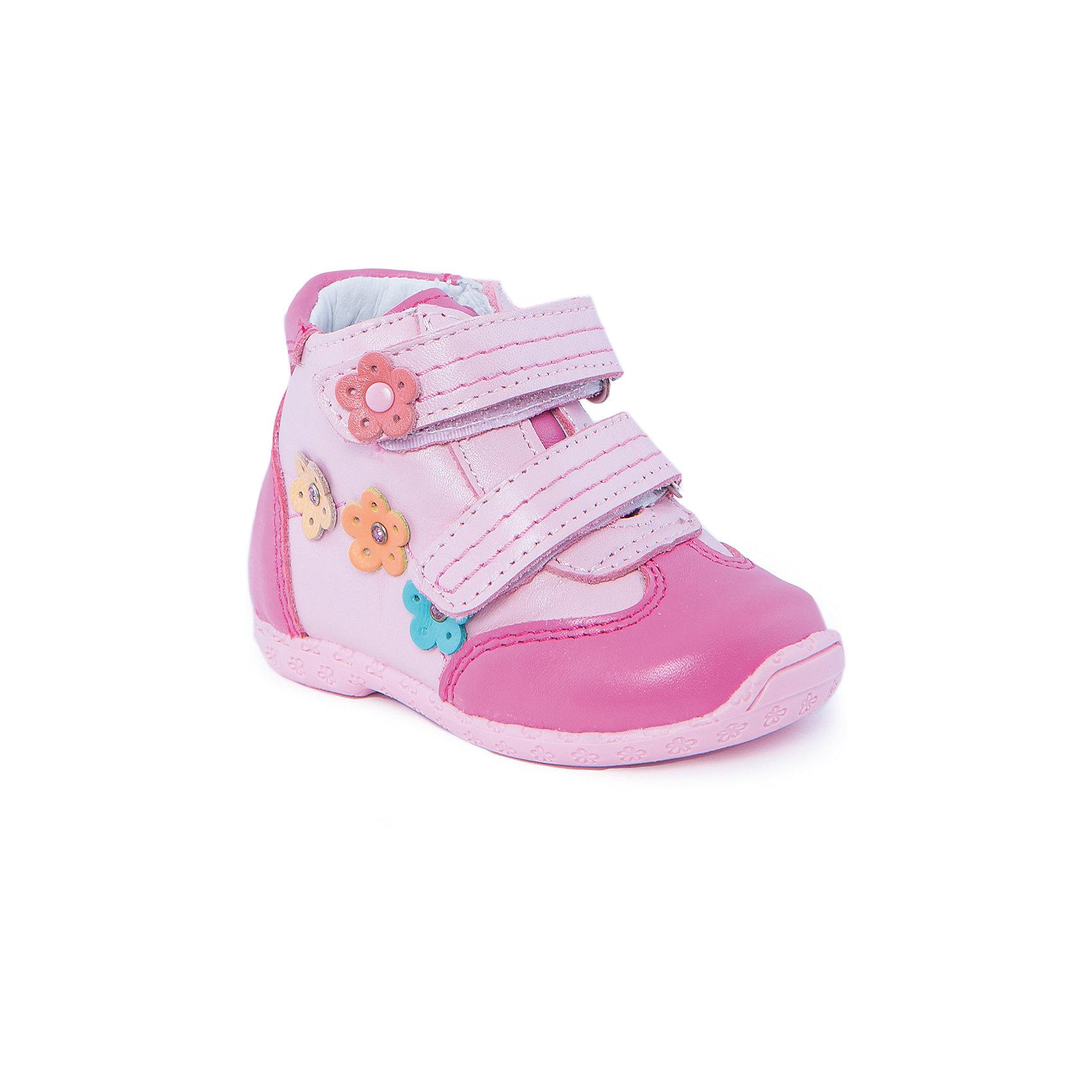 Ботинки для девочки КотофейБотинки для девочки от популярной марки Котофей.<br>Красивые розовые ботинки – это модная и удобная обувь. Они легко застегиваются благодаря липучкам, отлично прошиты. Сделаны из натуральной кожи.<br>Отличительные особенности модели:<br>- модный дизайн;<br>- цвет розовый, декорированы яркими цветами;<br>- комфортная колодка;<br>- устойчивая подошва;<br>- удобные застежки-липучки;<br>- материал – натуральная кожа.<br>Дополнительная информация:<br>- Температурный режим: от + 5° С  до + 25° С.<br>- Состав:<br>материал верха: натуральная кожа<br>материал подкладки: натуральная кожа<br>подошва: ТЭП.<br>Ботинки для девочки Котофей можно купить в нашем магазине.<br><br>Ширина мм: 262<br>Глубина мм: 176<br>Высота мм: 97<br>Вес г: 427<br>Цвет: розовый<br>Возраст от месяцев: 15<br>Возраст до месяцев: 18<br>Пол: Женский<br>Возраст: Детский<br>Размер: 22,19,20,21<br>SKU: 4206724