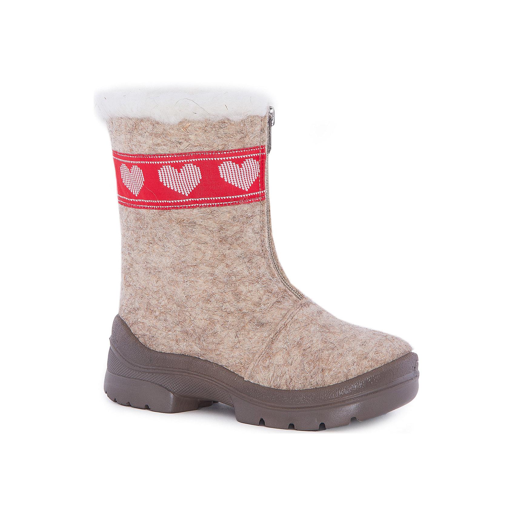 Валенки Любовь для девочки ФилипокВаленки<br>Характеристики товара:<br><br>• цвет: бежевый<br>• температурный режим: от -5° С до -30° С<br>• внешний материал: эко-войлок (натуральная шерсть)<br>• подкладка: натуральная овечья шерсть<br>• стелька: шерстяной войлок (3,5 мм)<br>• подошва: литая, полиуретан<br>• декорированы тесьмой и опушкой<br>• подошва с анти скользящей с системой протектора anti slip<br>• застежка: молния<br>• защита носка - натуральная кожа с износостойкой пропиткой<br>• усиленная пятка<br>• толстая устойчивая подошва<br>• страна бренда: РФ<br>• страна изготовитель: РФ<br><br>Очень теплые и удобные валенки для ребенка от известного бренда детской обуви Филипок созданы специально для русской зимы. Качественные материалы с пропиткой против попадания воды внутрь и модный дизайн понравятся и малышам и их родителям. Подошва и стелька обеспечат ребенку комфорт, сухость и тепло, позволяя в полной мере наслаждаться зимним отдыхом. Усиленная защита пятки и носка обеспечивает дополнительную безопасность детских ног в этих сапожках.<br>Эта красивая и удобная обувь прослужит долго благодаря отличному качеству. Производитель анти скользящее покрытие и амортизирующие свойства подошвы! Модель производится из качественных и проверенных материалов, которые безопасны для детей.<br><br>Валенки для девочки от бренда Филипок можно купить в нашем интернет-магазине.<br><br>Ширина мм: 257<br>Глубина мм: 180<br>Высота мм: 130<br>Вес г: 420<br>Цвет: бежевый<br>Возраст от месяцев: 48<br>Возраст до месяцев: 60<br>Пол: Женский<br>Возраст: Детский<br>Размер: 28,30,31,32,29,24,23,22,27,26,25<br>SKU: 4207448