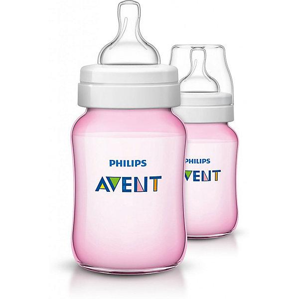 Бутылочка для кормления 260мл., 2шт, Avent, розовыйБутылочки и аксессуары<br>Бутылочка для кормления, Avent, изготовлена из  высококачественных экологичных материалов, абсолютно безопасных для детей, не содержит бисфенол-А. Оснащена антиколиковой системой, эффективность которой доказана клиническими испытаниями. Уникальный клапан соски сгибается в соответствии с естественным ритмом кормления малыша. Молоко поступает с той скоростью, которую выбирает малыш, что помогает уменьшить газообразование и количество срыгиваний, а также сократить риск переедания. Во время кормления клапан на соске открывается, пропуская воздух в бутылочку. Максимально комфортное кормление благодаря уникальной форме бутылочки, которую можно держать в любом положении. <br><br>Дополнительная информация:<br><br>- Материал: пластик, силикон.<br>- Не содержит бисфенол-А.<br>- Объем: 260 мл.<br>- Цвет: розовый. <br>- 2 бутылочки в комплекте.<br><br>Бутылочку для кормления 260мл., 2шт, Avent (Авент), розовую, можно купить в нашем магазине.<br><br>Ширина мм: 70<br>Глубина мм: 140<br>Высота мм: 160<br>Вес г: 204<br>Цвет: розовый<br>Возраст от месяцев: 1<br>Возраст до месяцев: 24<br>Пол: Женский<br>Возраст: Детский<br>SKU: 4207809