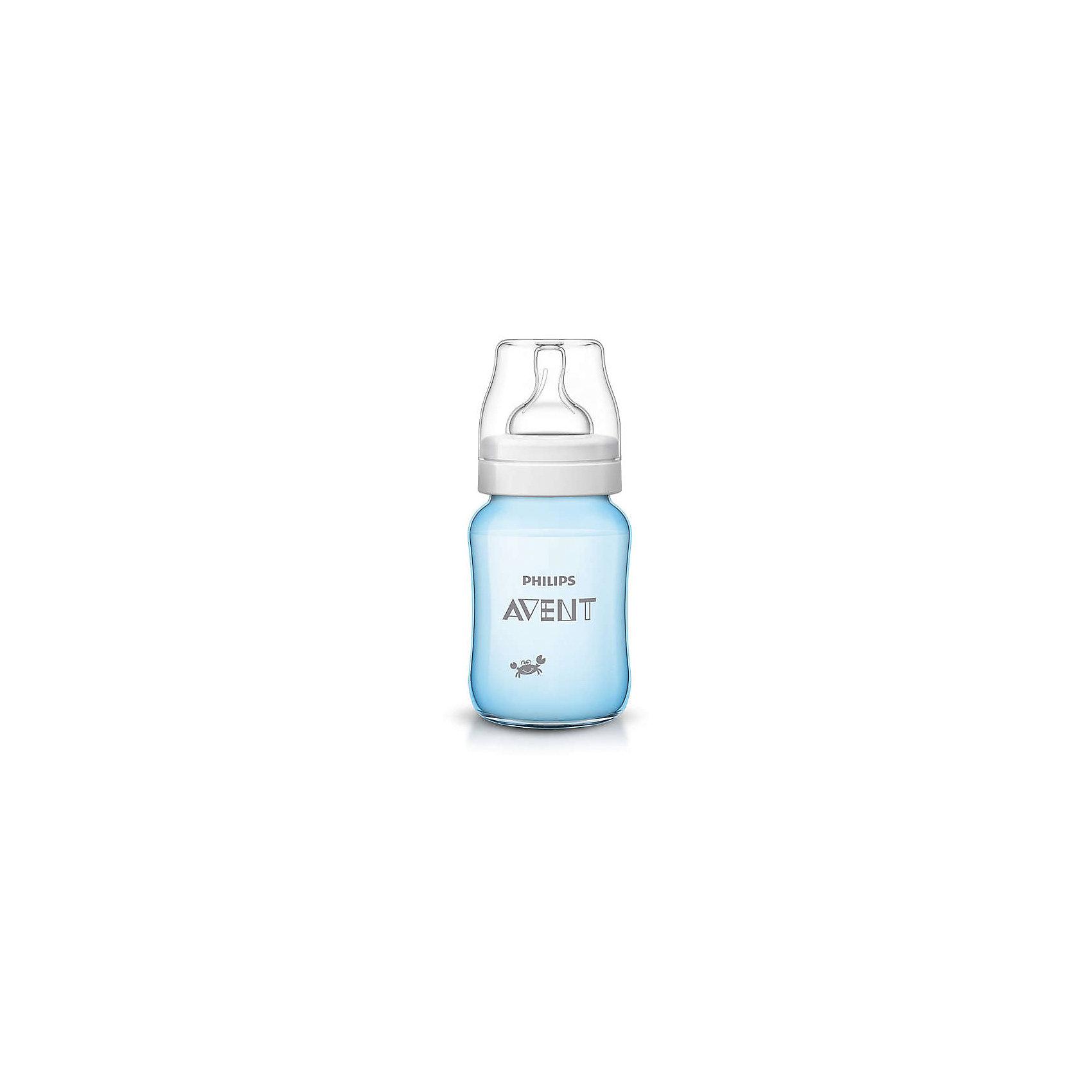 Бутылочка для кормления Крабы 260мл, Avent210 - 281 мл.<br>Бутылочка для кормления, Avent, изготовлена из  высококачественных экологичных материалов, абсолютно безопасных для детей, не содержит бисфенол-А. Оснащена антиколиковой системой, эффективность которой доказана клиническими испытаниями. Уникальный клапан соски сгибается в соответствии с естественным ритмом кормления малыша. Молоко поступает с той скоростью, которую выбирает малыш, что помогает уменьшить газообразование и количество срыгиваний, а также сократить риск переедания. Во время кормления клапан на соске открывается, пропуская воздух в бутылочку. Максимально комфортное кормление благодаря уникальной форме бутылочки, которую можно держать в любом положении. <br><br>Дополнительная информация:<br><br>- Материал: пластик, силикон.<br>- Не содержит бисфенол-А.<br>- Объем: 260 мл.<br>- Цвет: голубой. <br><br>Бутылочку для кормления Крабы Avent (Авент), можно купить в нашем магазине.<br><br>Ширина мм: 70<br>Глубина мм: 70<br>Высота мм: 160<br>Вес г: 102<br>Цвет: голубой<br>Возраст от месяцев: 1<br>Возраст до месяцев: 24<br>Пол: Мужской<br>Возраст: Детский<br>SKU: 4207812