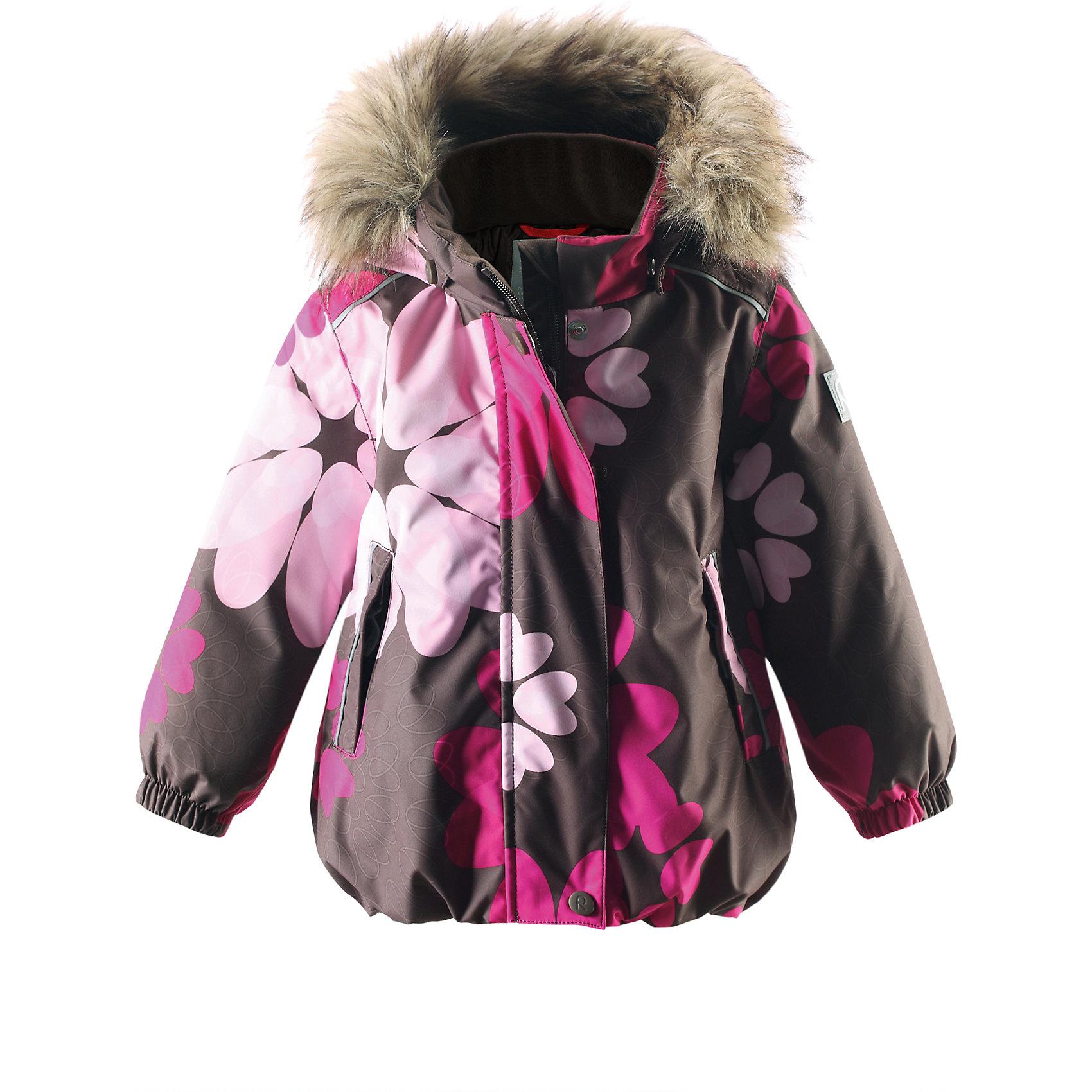Куртка для девочки Reimatec® ReimaКуртка, которая обязательно понравится маленьким принцессам, сочетает красивый цветочный узор и функциональность! Зимняя мембранная куртка для малышей пошита из водо- и ветронепроницаемого, пропускающего воздух материала, который отталкивает грязь и влагу. Все швы куртки от Reimatec® (Рейматек) проклеены, водонепроницаемы, чтобы никакая погода не смогла помешать весёлым зимним приключениям! Ткань пропускает воздух, поэтому ребёнок не вспотеет, как бы быстро он ни двигался. Куртка с подкладкой из гладкого полиэстера легко надевается и удобно носится с тёплым промежуточным слоем. Вы заметили, что к куртке можно легко пристегнуть многие из промежуточных слоёв Reima? Благодаря удобным кнопкам для пристегивания промежуточного слоя к верхней одежде по системе Playlayers®, многие флисовые кофты можно пристегнуть к куртке, чтобы малышу было теплее и комфортнее. Съёмный регулируемый капюшон не только защищает от холодного ветра, но и безопасен во время игр на свежем воздухе! Если закреплённый кнопками капюшон зацепится за что-нибудь, он легко отстегнётся. Когда пойдёте гулять, в карманы на молниях можно положить крошечные сокровища, а светоотражающие детали обеспечат видимость в темноте. Стиль этой симпатичной куртки подчёркнут пышным подолом, остроконечным капюшоном с отстёгивающейся отделкой из искусственного меха и светоотражателем в форме цветка. Эта куртка не требует особого ухода. Можно сушить в центрифуге.<br><br>Водонепроницаемая зимняя куртка, модель для девочек<br>Все швы проклеены, водонепроницаемы<br>Безопасный съёмный капюшон с отстёгивающейся отделкой из искусственного меха<br>Два кармана на молниях<br>Светоотражающие детали для безопасности<br>Состав:<br>100% ПЭ, ПУ-покрытие<br>Средняя степень утепления (до - 20)<br><br>Куртку для девочки Reimatec® (Рейматек) Reima (Рейма) можно купить в нашем магазине.<br><br>Ширина мм: 356<br>Глубина мм: 10<br>Высота мм: 245<br>Вес г: 519<br>Цвет: коричневый<br>Возраст от месяцев: 18<br>Возр