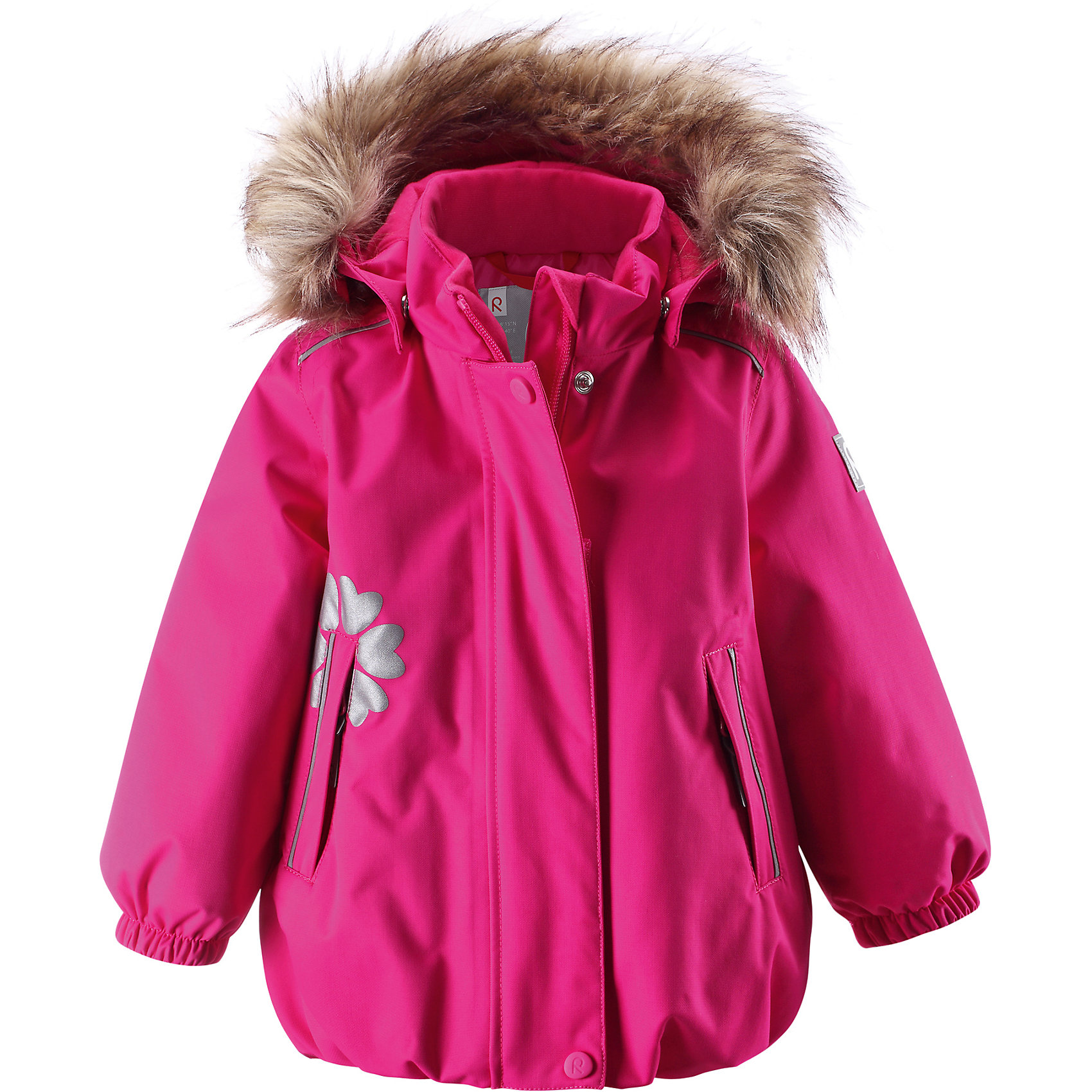 Куртка для девочки Reimatec® ReimaЭта однотонная водонепроницаемая мембранная куртка для малышей украшена светоотражающим принтом из сердечек вокруг бокового кармана. Зимняя куртка для малышей сшита из водо- и ветронепроницаемого, пропускающего воздух материала, который отталкивает грязь и влагу. Все швы куртки от Reimatec® (Рейматек) проклеены, водонепроницаемы, чтобы никакая погода не смогла помешать весёлым зимним приключениям! Ткань пропускает воздух, поэтому ребёнок не вспотеет, как бы быстро он ни двигался. Куртка с подкладкой из гладкого полиэстера легко одевается и удобно носится с тёплым промежуточным слоем. Вы заметили, что к куртке можно легко пристегнуть многие из промежуточных слоёв Reima? Благодаря удобным кнопкам для пристегивания промежуточного слоя к верхней одежде по системе Playlayers®, многие флисовые кофты можно пристегнуть к куртке, чтобы малышу было теплее и комфортнее. Съёмный и регулируемый капюшон не только защищает от холодного ветра, но и безопасен во время игр на свежем воздухе! Если закреплённый кнопками капюшон зацепится за что-нибудь, он легко отстегнётся. Когда пойдёте гулять, в карманы на молниях можно положить крошечные сокровища, а светоотражающие детали обеспечат видимость в темноте. Стиль этой очаровательной куртки подчёркнут пышным подолом, остроконечным капюшоном с отстёгивающейся отделкой из искусственного меха и светоотражающим цветком. Эта куртка не требует особого ухода. Можно сушить в центрифуге.<br><br>Водонепроницаемая зимняя куртка, модель для девочек<br>Все швы проклеены, водонепроницаемы<br>Безопасный съёмный капюшон с отстёгивающейся отделкой из искусственного меха<br>Два кармана на молниях<br>Светоотражающие детали для безопасности<br>Состав:<br>100% ПА, ПУ-покрытие<br>Средняя степень утепления (до - 20)<br><br>Куртку для девочки Reimatec® (Рейматек) Reima (Рейма) можно купить в нашем магазине.<br><br>Ширина мм: 356<br>Глубина мм: 10<br>Высота мм: 245<br>Вес г: 519<br>Цвет: розовый<br>Возраст от месяцев: 6<br>Возра