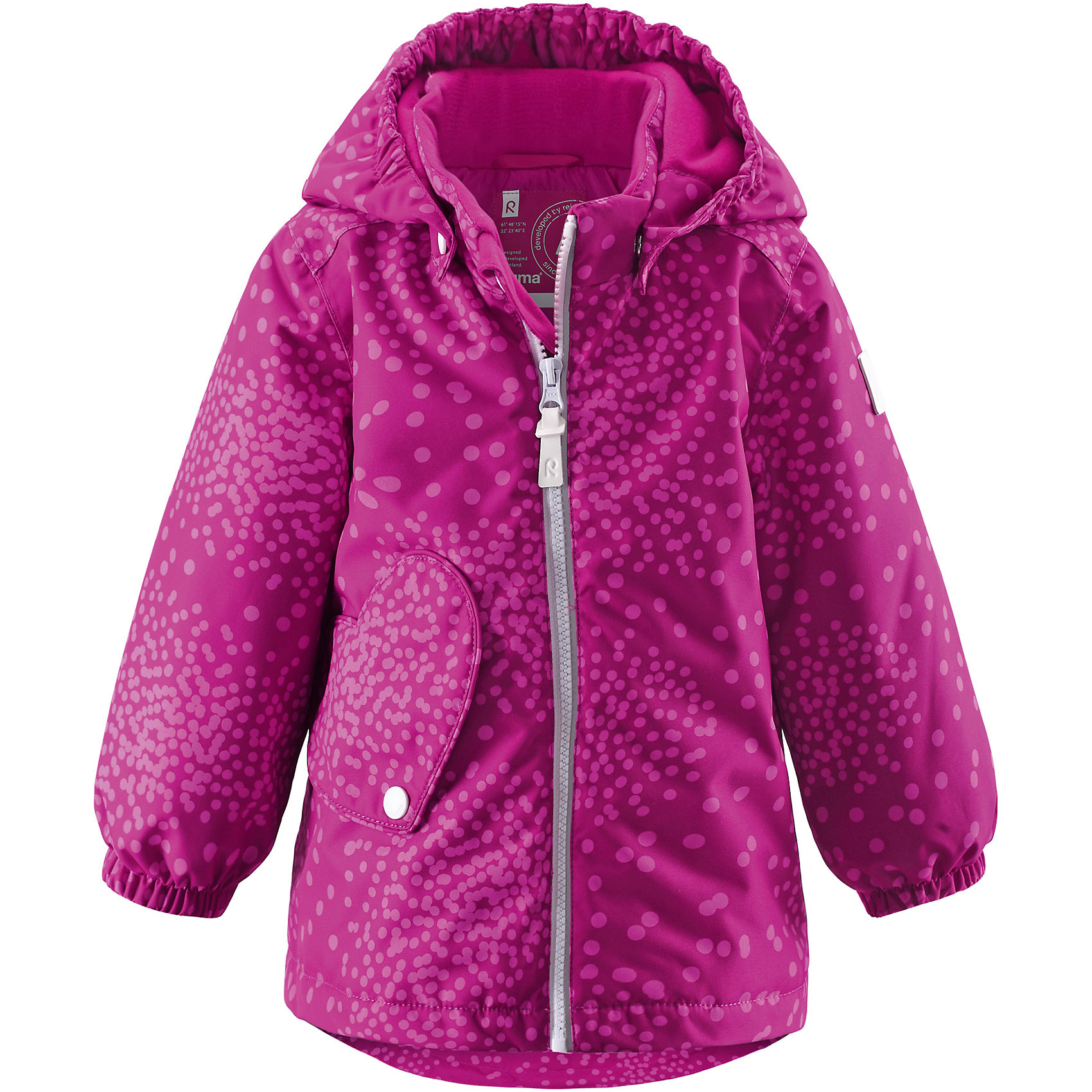 Куртка для девочки ReimaСветоотражающие сердечки и карман с клапаном украшают эту симпатичную зимнюю куртку для малышей. Зимняя куртка для маленьких детей сшита из ветронепроницаемого, пропускающего воздух материала, который отталкивает грязь и влагу. Чтобы дожди не смогли помешать зимнему веселью, внешние швы проклеены для водонепроницаемости. Куртка с подкладкой из гладкого полиэстера легко надевается и удобно носится с тёплым промежуточным слоем. Чтобы куртка плотнее прилегала к фигуре, её можно отрегулировать на талии. Остроконечный капюшон со светоотражающим сердечком и удлинённый задний подол завершают образ этой зимней куртки. Не требует особого ухода. Благодаря обеспечивающим видимость светоотражателям в форме сердечек, маленькие принцессы могут получать удовольствие от весёлой прогулки даже после захода солнца.<br><br>Водонепроницаемая зимняя куртка для малышей<br>Основные швы проклеены, водонепроницаемы<br>Безопасный съёмный капюшон<br>Регулируемая талия<br>Карман с клапаном в форме сердечка<br>Светоотражающие детали для безопасности<br>Состав:<br>100% ПЭ, ПУ-покрытие<br>Средняя степень утепления (до - 20)<br><br>Куртку для девочки Reima (Рейма) можно купить в нашем магазине.<br><br>Ширина мм: 356<br>Глубина мм: 10<br>Высота мм: 245<br>Вес г: 519<br>Цвет: розовый<br>Возраст от месяцев: 12<br>Возраст до месяцев: 18<br>Пол: Женский<br>Возраст: Детский<br>Размер: 98,80,74,86,92<br>SKU: 4208137