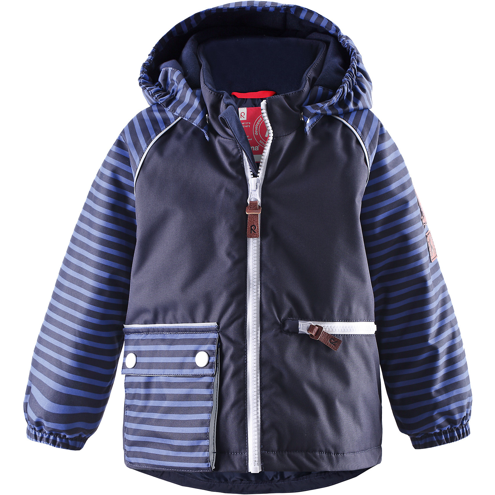 Куртка для мальчика ReimaБлагодаря ярким полоскам и забавным деталям эта зимняя куртка для детей станет стильным нарядом для зимних развлечений! Основные швы проклеены для водонепроницаемости, а материал отталкивает воду и грязь. В этой ветронепроницаемой, пропускающей воздух куртке вашему малышу не страшны ни снег, ни влага. Гладкая подкладка из полиэстера облегчает процесс одевания и удобно носится с тёплыми промежуточными слоями. Модная модель украшена большими накладными карманами, стильными язычками молнии и эмблемой с лисичкой на рукаве, сделанной из искусственной кожи. Эта куртка не требует особого ухода и надёжно согреет во время весёлой зимней прогулки!<br><br>Водонепроницаемая зимняя куртка для малышей, модель для мальчиков<br>Основные швы проклеены, водонепроницаемы<br>Безопасный съёмный капюшон<br>Один карман на молнии и один накладной карман<br>Светоотражающие детали для безопасности<br>Состав:<br>100% ПЭ, ПУ-покрытие<br>Средняя степень утепления (до - 20)<br><br>Куртку для мальчика Reima (Рейма) можно купить в нашем магазине.<br><br>Ширина мм: 356<br>Глубина мм: 10<br>Высота мм: 245<br>Вес г: 519<br>Цвет: синий<br>Возраст от месяцев: 6<br>Возраст до месяцев: 9<br>Пол: Мужской<br>Возраст: Детский<br>Размер: 74,98,92,86,80<br>SKU: 4208149