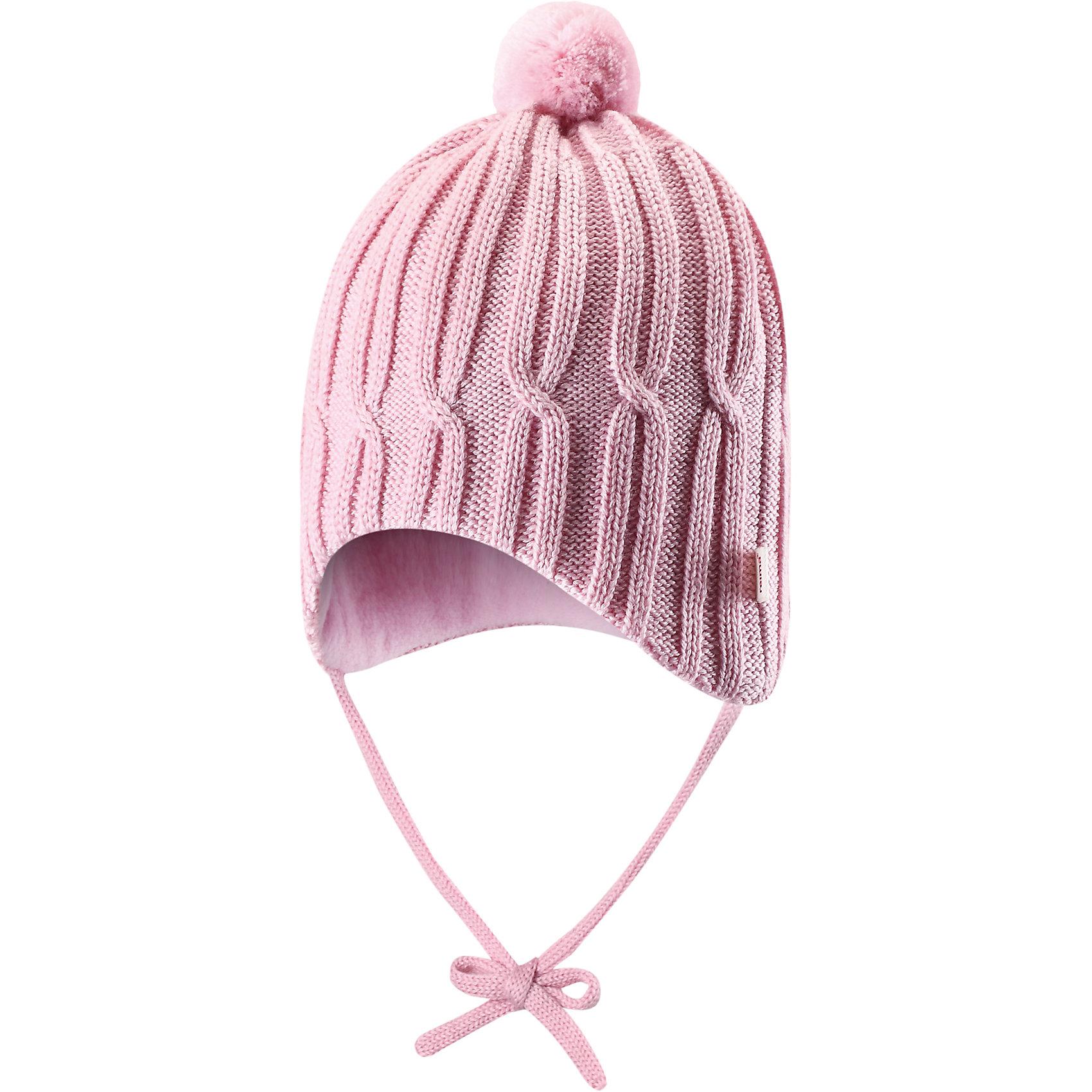 Шапка для девочки ReimaЭта стильная шапочка позволит создать неповторимый образ! Мягкая подкладка из флиса без внутреннего шва приятна чувствительной детской коже, а вставки в области ушей обеспечивают дополнительную защиту во время зимних прогулок или поездок в коляске. Красивая структурная вязка и помпон сделают завершающий штрих.<br><br>Детская вязаная шапочка <br>Забавная структурная вязка<br>Мягкая теплая подкладка из флиса<br>Ветронепроницаемые вставки в области ушей<br>Очень удобная модель с задним швом<br>Состав:<br>50% Шерсть 50% Акрил<br><br><br>Шапку Reima (Рейма) можно купить в нашем магазине.<br><br>Ширина мм: 89<br>Глубина мм: 117<br>Высота мм: 44<br>Вес г: 155<br>Цвет: розовый<br>Возраст от месяцев: 4<br>Возраст до месяцев: 6<br>Пол: Женский<br>Возраст: Детский<br>Размер: 44,36,40<br>SKU: 4208562