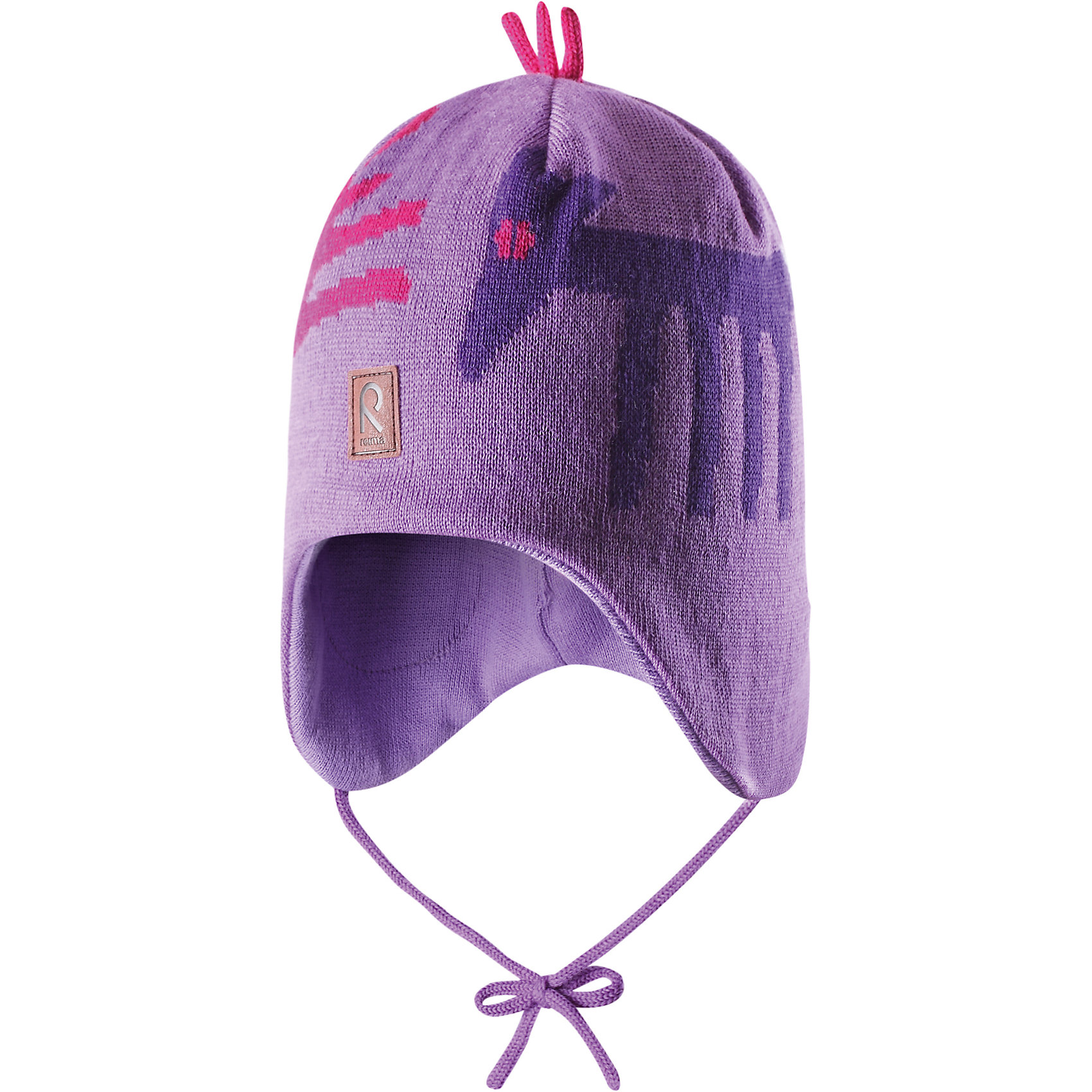 Шапка для девочки ReimaШапочки<br>Эй, лисички! Эта теплая шерстяная шапочка согреет в морозный зимний день! Подкладка из мягкого хлопчатобумажной трикотажа приятна коже и позволяет держать головку в тепле. Ветронепроницаемые вставки в области ушей защитят маленькие уши от холодного ветра, а шнурочки не позволят шапочке соскользнуть во время катания на санках. Шапочка хорошо защитит маленькие уши и лоб в холодную погоду.<br><br> Шерстяная шапочка для малышей и детей постарше<br> Спереди декоративная вышивка<br> Сплошная подкладка: мягкая хлопчатобумажная подкладка<br>Ветронепроницаемые вставки в области ушей <br>Забавный рисунок «лисица»<br>Состав:<br>100% Шерсть<br><br><br>Шапку Reima (Рейма) можно купить в нашем магазине.<br><br>Ширина мм: 89<br>Глубина мм: 117<br>Высота мм: 44<br>Вес г: 155<br>Цвет: фиолетовый<br>Возраст от месяцев: 12<br>Возраст до месяцев: 24<br>Пол: Женский<br>Возраст: Детский<br>Размер: 54,50,52,48,46<br>SKU: 4208771