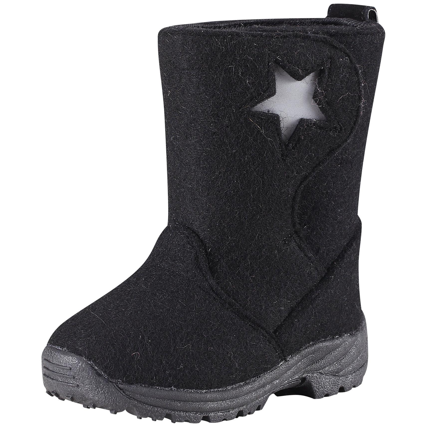 Ботинки ReimaНадёжная обувь для особенно холодных зимних дней: ботинки из фетра на каучуковой подошве, гарантирующей хорошее сцепление с поверхностью - это то, о чём дети могли только мечтать несколько десятилетий назад... Дополнительное утепление за счёт мягкой смеси шерсти и фетровых стелек, которые вынимаются. С помощью стелек можно легко проверить размер ботинка: впереди должно оставаться пространство в 1,5 см для движения и роста ноги. Эти супер-тёплые ботинки легко обуваются благодаря новой конструкции голенища, которое полностью расстёгивается и застёгивается с помощью липучек. Таким образом, вы можете отрегулировать ботинки, чтобы они плотно прилегали к ножке. Подошва из термопластичного каучука обеспечивает не только хорошее сцепление с поверхностью, но и теплоизоляцию. Благодаря рифлёному узору на подошве штрипки брюк и комбинезона будут надёжно сидеть на пятке. Забавные декоративные светоотражающие детали оживляют образ и обеспечивают дополнительную безопасность в темноте.<br><br>Детские ботинки Reima® ORIGINAL из фетра для особенно холодных зимних дней<br>Удобная и тёплая шерстяная подкладка<br>Стельки вынимаются, рисунок Happy Fit помогает правильно определить размер ноги<br> Подошва из термопластичного каучука обеспечивает хорошее сцепление с поверхностью<br>Светоотражающие детали на голенище<br>Состав:<br>Подошва: термопластичная резина, Верх: Шерсть<br>Высокая степень утепления (до - 30)<br><br>Ботинки Reima (Рейма) можно купить в нашем магазине.<br><br>Ширина мм: 237<br>Глубина мм: 180<br>Высота мм: 152<br>Вес г: 438<br>Цвет: черный<br>Возраст от месяцев: 60<br>Возраст до месяцев: 72<br>Пол: Унисекс<br>Возраст: Детский<br>Размер: 29,28,24,26,27,30,25<br>SKU: 4209249