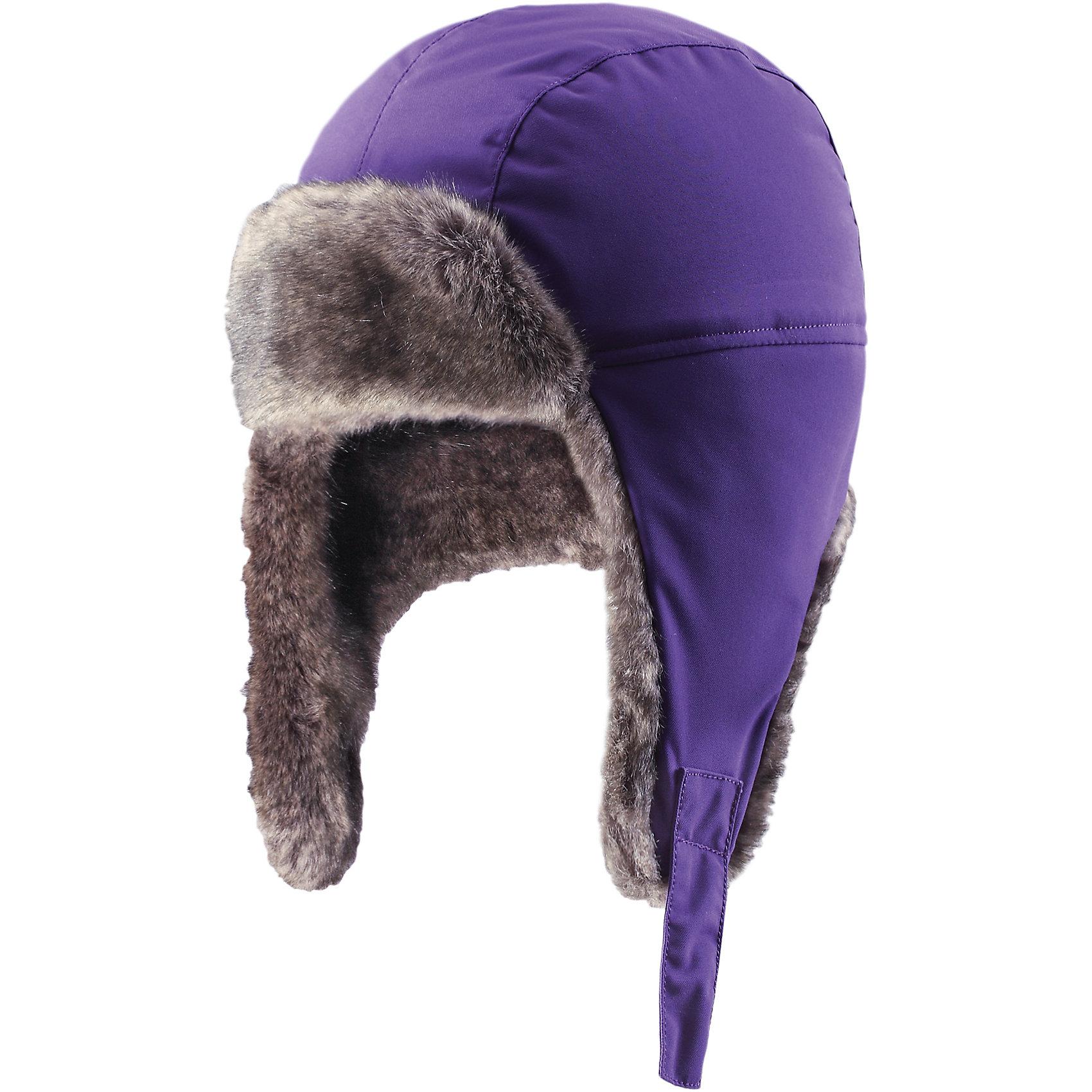 Шапка для девочки ReimaДля всех подвижных и весёлых игр нужна красивая одежда! Эта шапка для малышей и детей постарше - лучший выбор для холодной и ветреной зимней погоды. Она очень тёплая и защитит в любую погоду, поэтому подходит для самых активных искателей приключений, которые не боятся внезапной метели. Шапка сделана из ветро- и водонепроницаемого материала и в то же время пропускает воздух. Все швы проклеены, поэтому голова останется сухой и будет хорошо защищена. Очень мягкая подкладка с начёсом создаёт стильный образ! Удобная застёжка на кнопке, благодаря которой шапка прочно держится на голове. Кроме того, сзади имеется светоотражающий логотип компании Reima, который обеспечивает видимость в темноте.<br><br>Зимняя шапка для детей и подростков. Подходит для очень плохой погоды<br>Прочный ветро- и водонепроницаемый материал<br>Все швы проклеены для водонепроницаемости<br>Утеплитель 100 г<br>Полностью на подкладке: Мягкая вязаная из полиэстера с начёсом<br>Застёгивается на кнопку<br><br>Состав:<br>100% ПА, ПУ-покрытие<br>Средняя степень утепления (до - 20)<br><br>Шапку Reima (Рейма) можно купить в нашем магазине.<br><br>Ширина мм: 89<br>Глубина мм: 117<br>Высота мм: 44<br>Вес г: 155<br>Цвет: фиолетовый<br>Возраст от месяцев: 84<br>Возраст до месяцев: 96<br>Пол: Женский<br>Возраст: Детский<br>Размер: 58,48,54,50,56,52<br>SKU: 4210408