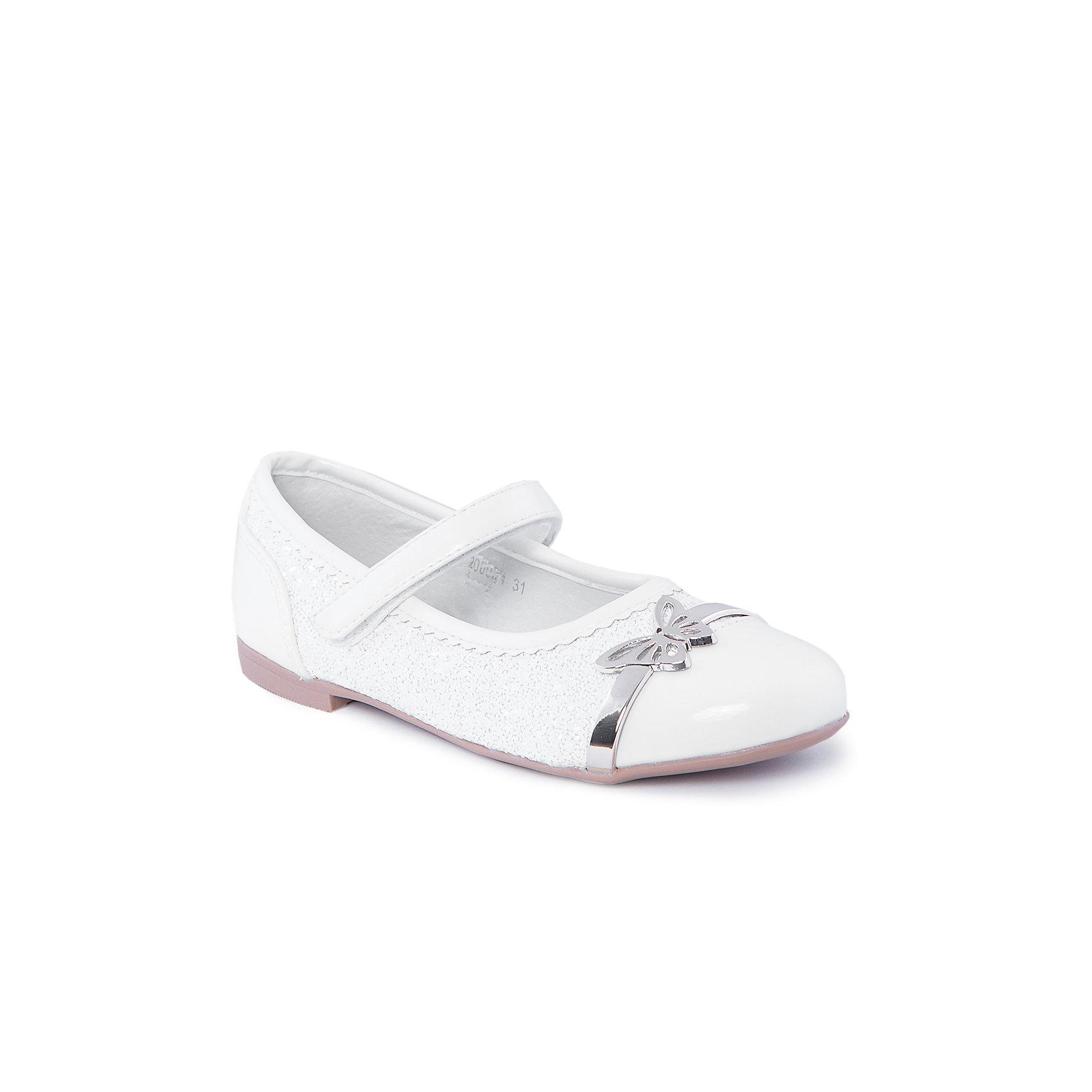 Туфли для девочки MURSUТуфли для девочки от известного бренда MURSU порадуют всех юных модниц. Модель на небольшом каблуке застегивается на липучку, декорирована белым бисером и блестящей бабочкой. Туфли выполнены из высококачественных материалов, подкладка и стелька изготовлены из натуральной кожи, обеспечивающей удобство, комфорт и гигиеничность. <br><br>Дополнительная информация:<br><br>- Цвет: белый.<br>- Тип застежки: липучка.<br>- Декоративные элементы: бабочка, бисер. <br><br>Состав:<br><br>- Материал верха: искусственная кожа.<br>- Материал подкладки: натуральная кожа.<br>- Материал подошвы: TEP.<br>- Материал стельки: натуральная кожа.<br><br>Туфли для девочки MURSU (Мурсу), можно купить в нашем магазине.<br><br>Ширина мм: 227<br>Глубина мм: 145<br>Высота мм: 124<br>Вес г: 325<br>Цвет: белый/золотой<br>Возраст от месяцев: 120<br>Возраст до месяцев: 132<br>Пол: Женский<br>Возраст: Детский<br>Размер: 34,31,35,33,32<br>SKU: 4213391