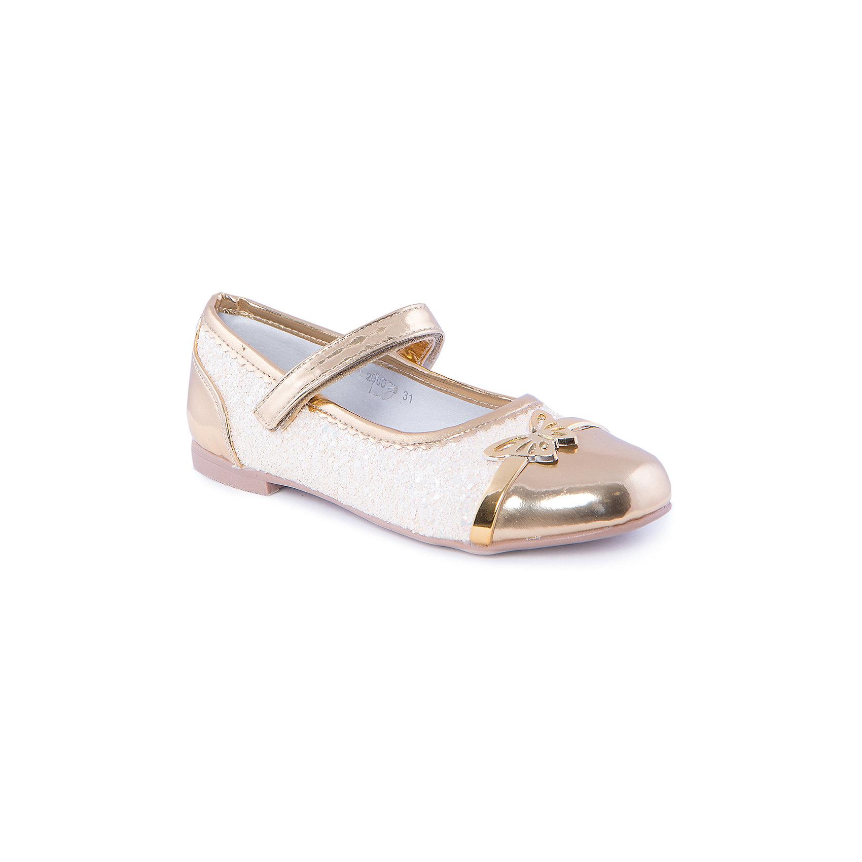 Туфли для девочки MURSUТуфли для девочки от известного бренда MURSU - прекрасный вариант для торжественных мероприятий. Модель на небольшом каблуке застегивается на липучку, декорирована бисером и блестящей бабочкой. Туфли выполнены из высококачественных материалов, подкладка и стелька изготовлены из натуральной кожи, обеспечивающей удобство, комфорт и гигиеничность. Золотые туфельки - мечта каждой юной модницы! <br><br>Дополнительная информация:<br><br>- Цвет: золото.<br>- Тип застежки: липучка.<br>- Декоративные элементы: бабочка, бисер. <br><br>Состав:<br><br>- Материал верха: искусственная кожа.<br>- Материал подкладки: натуральная кожа.<br>- Материал подошвы: TEP.<br>- Материал стельки: натуральная кожа.<br><br>Туфли для девочки MURSU (Мурсу), можно купить в нашем магазине.<br><br>Ширина мм: 227<br>Глубина мм: 145<br>Высота мм: 124<br>Вес г: 325<br>Цвет: золотой<br>Возраст от месяцев: 132<br>Возраст до месяцев: 144<br>Пол: Женский<br>Возраст: Детский<br>Размер: 35,34,32,31,33<br>SKU: 4213397