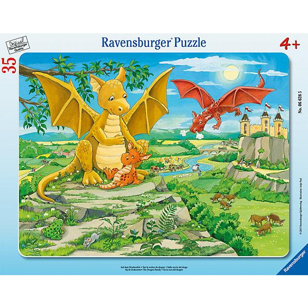 Пазл «Семья драконов», 35 деталей, RavensburgerПазлы для малышей<br>Семья драконов - это пазл - сказка, который способствует развитию памяти, моторики рук, усидчивости и сообразительности ребёнка. Воссоздавая картинку, малышу будет интересно наблюдать за сказочными драконами, изображенных на ней. Собирать пазл будет легко, ведь все детали изготовлены из прочного материала, который не будет расклеиваться при использовании. Также изделие безопасно для ребёнка, так как изготовлено из экологического сырья. Ваш ребёнок будет рад такому полезному и интересному подарку!<br><br>В товар входит:<br>-35 деталей<br><br>Дополнительная информация<br>-Размер картинки – 26*18 см <br>-Размер упаковки – 27,5*19*3 см<br>-Возраст: от 4 лет<br>-Для мальчиков и девочек<br>-Состав: картон, бумага<br>-Бренд: Ravensburger (Равенсбургер)<br>-Страна обладатель бренда: Германия<br><br>Ширина мм: 376<br>Глубина мм: 291<br>Высота мм: 8<br>Вес г: 315<br>Возраст от месяцев: 48<br>Возраст до месяцев: 72<br>Пол: Мужской<br>Возраст: Детский<br>Количество деталей: 35<br>SKU: 4213518