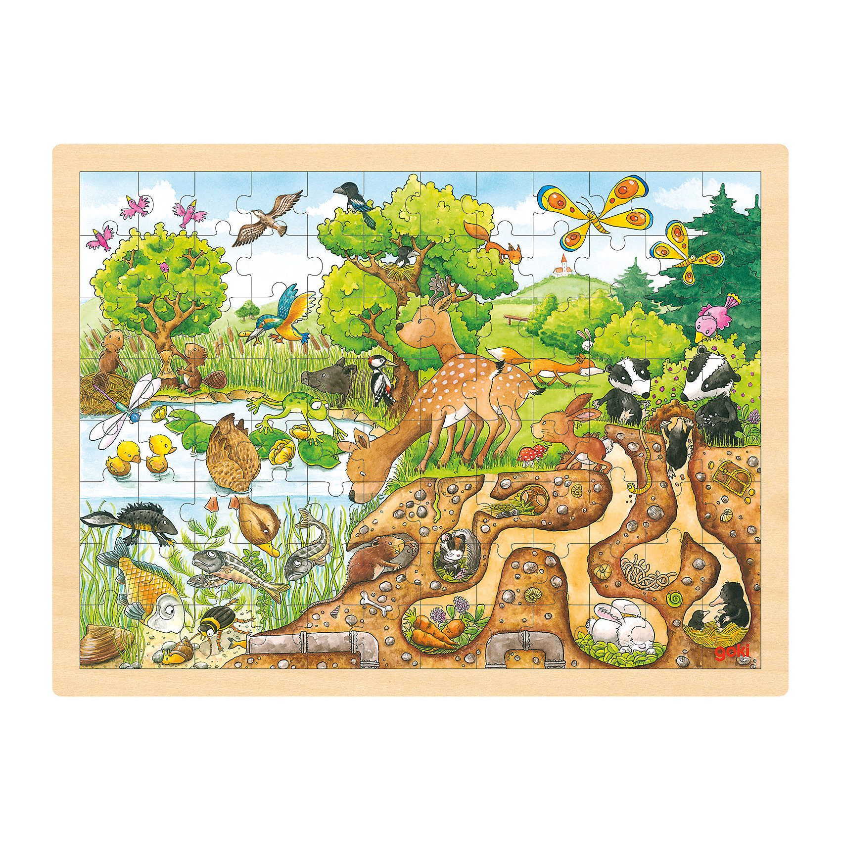 goki Пазл Юный натуралист, 96 дет., goki пазлы magic pazle объемный 3d пазл эйфелева башня 78x38x35 см