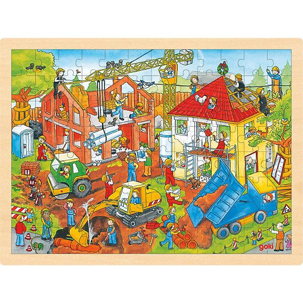 Пазл На стройке, 96 дет., gokiПазлы для малышей<br>Пазл На стройке, 96 дет., goki (гоки) – это интересный красивый деревянный пазл.<br>Пазл На стройке посвящен бурлящей стройке. На нем можно без труда заметить строящиеся дома и большое количество строительной техники, такой как экскаватор, самосвал, башенный кран, дорожный каток. А также много людей работающих на строительной площадке. Пазл изготовлен из экологически чистых, абсолютно безвредных для здоровья материалов. Собранный пазл, благодаря деревянной рамке будет великолепно смотреться в детской комнате. Составление пазлов развивает пространственное воображение, образное и логическое мышление, память, внимание, координацию движений и мелкую моторику рук. Собирая пазлы, ребенок познает связь между частью и целым.<br><br>Дополнительная информация:<br><br>- В наборе: 96 деталей<br>- Размер собранной картинки: 30х40 см.<br>- Материал: древесина, безопасные краски<br>- Размер упаковки: 40 х 4 х30 см.<br>- Вес: 580 гр.<br><br>Пазл На стройке, 96 дет., goki (гоки) можно купить в нашем интернет-магазине.<br>Ширина мм: 400; Глубина мм: 40; Высота мм: 300; Вес г: 580; Возраст от месяцев: 36; Возраст до месяцев: 60; Пол: Унисекс; Возраст: Детский; SKU: 4214243;