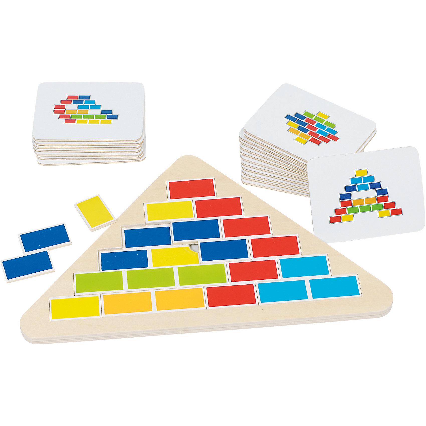 Игра Кирпичики (карточки с заданиями), gokiГоловоломки<br>Эта увлекательная игра прекрасно тренирует пространственное воображение и мышление.Сегментная головоломка состоит из одной треугольной рамки с десятью сегментами- элементами и 20 карточек с изображением на обеих сторонах. Можно собирать по собственному узору, как мозаику, а можно - по прилагающимся карточкам с заданиями.<br><br>Дополнительная информация:<br><br>- Материал: дерево.<br>- Размер рамки: 25,5х16 см.<br>- Комплектация: 10 сегментом, 20 карточек.<br><br>Игру Кирпичики (карточки с заданиями), goki (Гоки) можно купить в нашем магазине.<br><br>Ширина мм: 100<br>Глубина мм: 100<br>Высота мм: 100<br>Вес г: 650<br>Возраст от месяцев: 48<br>Возраст до месяцев: 84<br>Пол: Унисекс<br>Возраст: Детский<br>SKU: 4214244