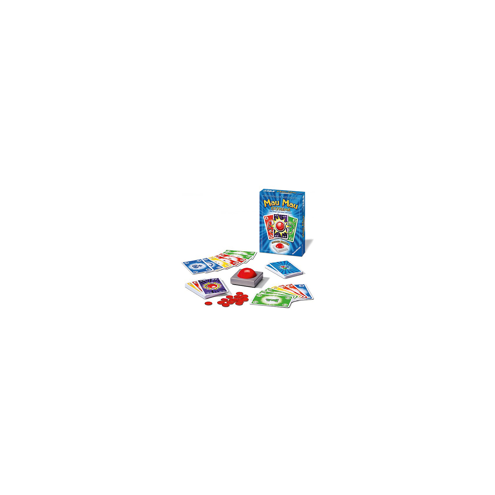 Игра Мяу - Мяу экстрим, RavensburgerИгра Мяу - Мяу экстрим, Ravensburger (Равенсбургер) – это увлекательная и захватывающая карточная игра для всей семьи!<br>Больше темпа – больше удовольствия! В этой классической карточной игре с новой изюминкой Вы должны не только класть подходящие карты друг на друга, но и прилежно «звонить». Только бдительный, прилежно нажимающий на кнопку зуммера, игрок первым избавится от всех своих карт. В «Мяу Мяу Экстрим» побеждает игрок, выигравший три раунда. Соревнуясь друг с другом в настольной игре Мяу-Мяу Экстрим (Ravensburger), у детей развивается логическое мышление, быстрота реакции, внимательность, аналитические способности.<br><br>Дополнительная информация:<br><br>- В комплекте: 60 игральных карт, зуммер, 12 фишек, инструкция<br>- Материал: картон, пластик<br>- Количество игроков: от 2 до 6 человек<br>- Продолжительность игры: 20 мин.<br>- Размер коробки: 18 х 13 x 4 см.<br><br>Игру Мяу - Мяу экстрим, Ravensburger (Равенсбургер) можно купить в нашем интернет-магазине.<br><br>Ширина мм: 130<br>Глубина мм: 180<br>Высота мм: 39<br>Вес г: 0<br>Возраст от месяцев: 72<br>Возраст до месяцев: 144<br>Пол: Унисекс<br>Возраст: Детский<br>SKU: 4214573