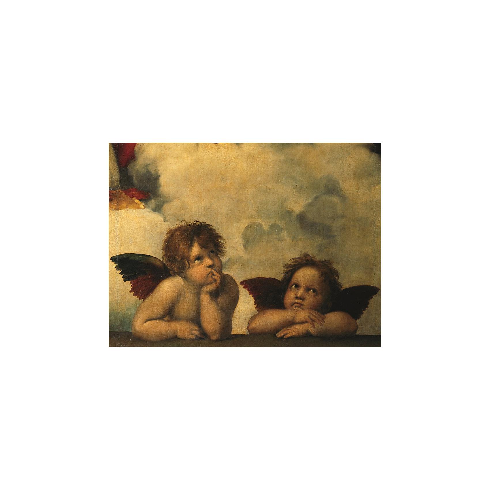 Пазл «Рафаэль. Ангелы» 1000 деталей, RavensburgerПазл «Рафаэль. Ангелы» 1000 деталей, Ravensburger (Равенсбургер) – пазл отличного качества с изображением репродукции известной картины.<br>Собрав пазл «Рафаэль. Ангелы», вы получите изображение знаменитой картины Ангелы, которою сотворил итальянский художник Рафаэль Санти. Рафаэль Санти изобразил двух маленьких херувимчиков, и вложил в картину максимум душевного тепла. Мельчайшие детали досконально прорисованы, а выражения лиц ангелов навевает мысли о возвышенном. Пазл с фотокопией картины из тысячи элементов настолько качественно исполнен и напечатан в высочайшем разрешении, что позволяет использовать его в собранном виде в качестве высокохудожественного украшения интерьера. Пазлы Ravensburger (Равенсбургер) всегда отличаются высоким качеством полиграфии, изготовлены из экологичного сырья. Они пригодны для многократного использования, ведь плотный картон не расслаивается при правильной эксплуатации. Все элементы идеально соединяются, а специальная технология производства гарантирует отсутствие двух одинаковых деталей. Рисунок имеет матовую поверхность без бликов. Для того, чтобы пазл остался в собранном виде можно использовать специальный клей и вставить картину в рамку (рамка и клей продаются отдельно и в комплект не входят).<br><br>Дополнительная информация:<br><br>- Количество деталей: 1000 шт.<br>- Размер картинки: 70 х 50 см.<br>- Материал: картон<br>- Размер упаковки: 37 х 27 х 5,5 см.<br>- Вес: 956 гр.<br><br>Пазл «Рафаэль. Ангелы» 1000 деталей, Ravensburger (Равенсбургер) можно купить в нашем интернет-магазине.<br><br>Ширина мм: 370<br>Глубина мм: 270<br>Высота мм: 55<br>Вес г: 956<br>Возраст от месяцев: 96<br>Возраст до месяцев: 192<br>Пол: Унисекс<br>Возраст: Детский<br>Количество деталей: 1000<br>SKU: 4214577