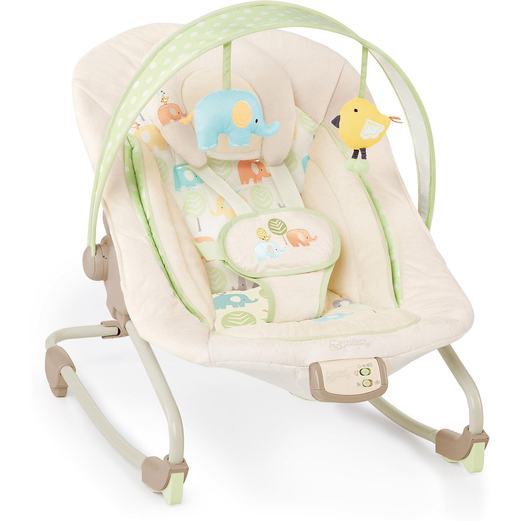 Кресло-качалка  Друзья малыша, Bright StartsЛегкое и удобное кресло-качалка Друзья малыша, Bright Starts - замечательное место для игр и отдыха малыша, которое позволяет держать ребенка на виду. Анатомическая конструкция кресла обеспечивает малышам правильное положение. Широкое сиденье с мягкой подкладкой и съемным подголовником создает ребенку оптимальный комфорт. Спинка сиденья регулируется в трех положениях, вплоть до горизонтального. Кресло можно использовать как качалку с функцией вибрации, а можно зафиксировать сиденье в статичном положении для детей постарше. Ребенок надежно удерживается в кресле при помощи мягкого пятиточечного ремня безопасности, ножки имеют антискользящее покрытие. <br><br>Кресло обладает музыкальными эффектами, которые успокоят и развлекут малыша: при нажатии на кнопку на корпусе можно послушать 7 мелодий, имеется регулировка громкости и автоматическое отключение через 15 минут. Забавные плюшевые игрушки (слоник и птичка) на съемной дуге привлекут внимание ребенка и будут способствовать двигательной активности, тактильному и сенсорному развитию. Кресло-качалка легко складывается и не занимает много места при хранении. Чехол из ткани можно стирать в стиральной машине при температуре 30 градусов. Максимальный вес ребенка - 18 кг.<br><br>Дополнительная информация:<br><br>- Материал: текстиль, пластик, металл.<br>- Возраст: 0 мес. - 3 года.<br>- Требуются 3 батарейки типа С (не входят в комплект).<br>- Размер в разложенном виде: 87 x 71 x 61 см. <br>- Размер упаковки: 71 x 35 x 55 см.<br>- Вес: 4,1 кг.<br><br> Кресло-качалку Друзья малыша, Bright Starts, можно купить в нашем интернет-магазине.<br><br>Ширина мм: 610<br>Глубина мм: 394<br>Высота мм: 130<br>Вес г: 4477<br>Возраст от месяцев: 0<br>Возраст до месяцев: 12<br>Пол: Унисекс<br>Возраст: Детский<br>SKU: 4214636
