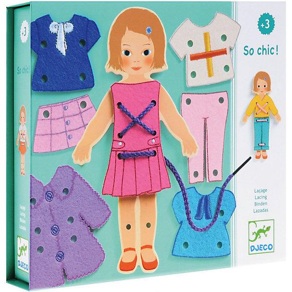 Настольная игра Какой стиль!, DJECOШнуровки<br>Настольная игра Какой стиль!, Djeco (Джеко) - новый вариант любимых многими девочками игр с одеванием куклы. В комплекте Вы найдете очаровательную картонную куколку и различные предметы одежды к ней. Девочке предлагается придумать для куколки новые наряды на все случаи жизни. Одежда прикрепляется к фигурке с помощью шнурка, который нужно продевать в имеющиеся отверстия. Все детали изготовлены из высококачественных материалов и покрыты безопасными красками. Игра развивает творческое воображение и фантазию, тренирует мелкую моторику.<br><br>Дополнительная информация:<br><br>- Материал: картон, текстиль<br>- Размер упаковки: 21,8 x 18,5 x 4 см.<br><br><br>Настольную игру Какой стиль!, Djeco (Джеко), можно купить в нашем интернет-магазине.<br>Ширина мм: 40; Глубина мм: 280; Высота мм: 10; Вес г: 380; Возраст от месяцев: 36; Возраст до месяцев: 84; Пол: Женский; Возраст: Детский; SKU: 4215011;