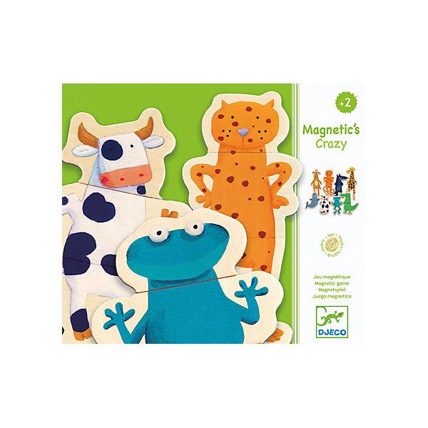 Магнитный пазл Забавные животные, DJECOПазлы для малышей<br>Магнитный пазл Забавные животные, Djeco (Джеко) - увлекательная развивающая игра для самых маленьких. В комплект входят 24 красочные деревянные детали на магнитах, из которых малышу предлагается сложить 8 фигурок забавных зверюшек (лягушку, корову, тюленя, жирафа, волка, крокодила, газель и леопарда). Детали имеют небольшой размер и удобную для детских ручек форму. В качестве игровой поверхности можно использовать холодильник, магнитную доску или любую другую металлическую поверхность. Игра развивает внимательность, мелкую моторику рук, воображение, логическое мышление, зрительное восприятие, усидчивость.<br><br>Дополнительная информация:<br><br>- В комплекте: 24 деревянные детали на магнитах (8 животных).<br>- Материал: дерево, магнит.<br>- Размер упаковки: 21,8 х 18,8 х 4 см.<br>- Вес: 0,45 кг. <br><br>Магнитный пазл Забавные животные, Djeco (Джеко), можно купить в нашем интернет-магазине.<br><br>Ширина мм: 190<br>Глубина мм: 280<br>Высота мм: 10<br>Вес г: 540<br>Возраст от месяцев: 24<br>Возраст до месяцев: 60<br>Пол: Унисекс<br>Возраст: Детский<br>SKU: 4215013
