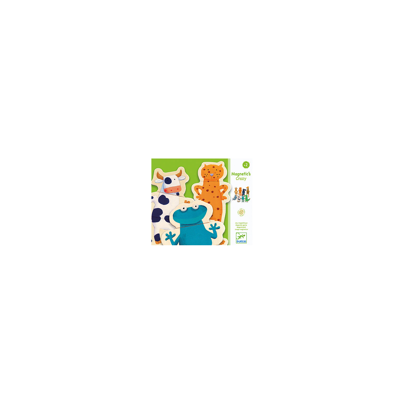Магнитный пазл Забавные животные, DJECOМагнитный пазл Забавные животные, Djeco (Джеко) - увлекательная развивающая игра для самых маленьких. В комплект входят 24 красочные деревянные детали на магнитах, из которых малышу предлагается сложить 8 фигурок забавных зверюшек (лягушку, корову, тюленя, жирафа, волка, крокодила, газель и леопарда). Детали имеют небольшой размер и удобную для детских ручек форму. В качестве игровой поверхности можно использовать холодильник, магнитную доску или любую другую металлическую поверхность. Игра развивает внимательность, мелкую моторику рук, воображение, логическое мышление, зрительное восприятие, усидчивость.<br><br>Дополнительная информация:<br><br>- В комплекте: 24 деревянные детали на магнитах (8 животных).<br>- Материал: дерево, магнит.<br>- Размер упаковки: 21,8 х 18,8 х 4 см.<br>- Вес: 0,45 кг. <br><br>Магнитный пазл Забавные животные, Djeco (Джеко), можно купить в нашем интернет-магазине.<br><br>Ширина мм: 190<br>Глубина мм: 280<br>Высота мм: 10<br>Вес г: 540<br>Возраст от месяцев: 24<br>Возраст до месяцев: 60<br>Пол: Унисекс<br>Возраст: Детский<br>SKU: 4215013