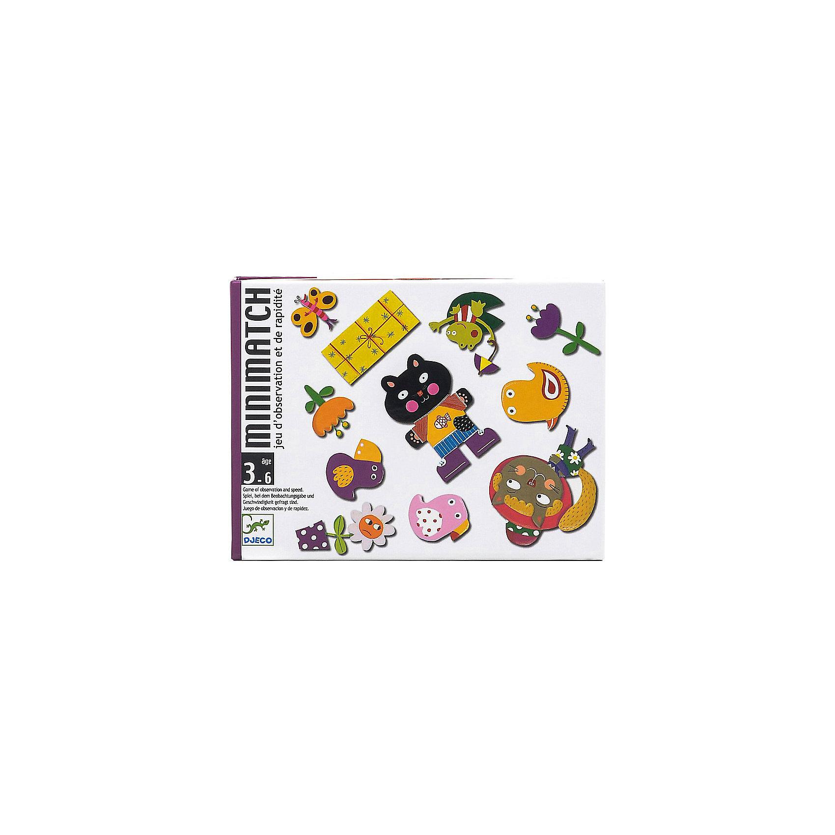 Игра Миниматч, DJECOОкружающий мир<br>Увлекательная настольная игра Миниматч, Djeco (Джеко), идеально подходит для совместного времяпрепровождения с ребенком. Игра представляет собой адаптированный для детей вариант классических карточных игр. В комплект входит колода из 72 карт: 12 больших карт путаница и 60 игральных карт. В игре участвует от 2 до 5 игроков, каждый получает по 5 игральных карт с изображением различных элементов. Карты путаница выкладываются в центре стола рубашкой вниз. Участники по очереди открывают карты путаница и если перевернутая карта совпала с их собственной - скорее выбрасывают свою, пока совпадение не успели найти соперники. В случае ошибки игрок добирает дополнительные карты из колоды. Побеждает участник быстрее всех избавившийся от карт. Игра развивает логическое мышление, внимание, быстроту реакции и наблюдательность.<br><br>Дополнительная информация:<br><br>- В комплекте: 72 карты (12 больших карт путаница, 60 игральных карт).<br>- Материал: картон.<br>- Размер упаковки: 16 х 12 х 3 см.<br>- Вес: 0,3 кг. <br><br> Игру Миниматч, Djeco (Джеко), можно ,купить в нашем интернет-магазине.<br><br>Ширина мм: 120<br>Глубина мм: 280<br>Высота мм: 10<br>Вес г: 290<br>Возраст от месяцев: 36<br>Возраст до месяцев: 72<br>Пол: Унисекс<br>Возраст: Детский<br>SKU: 4215014