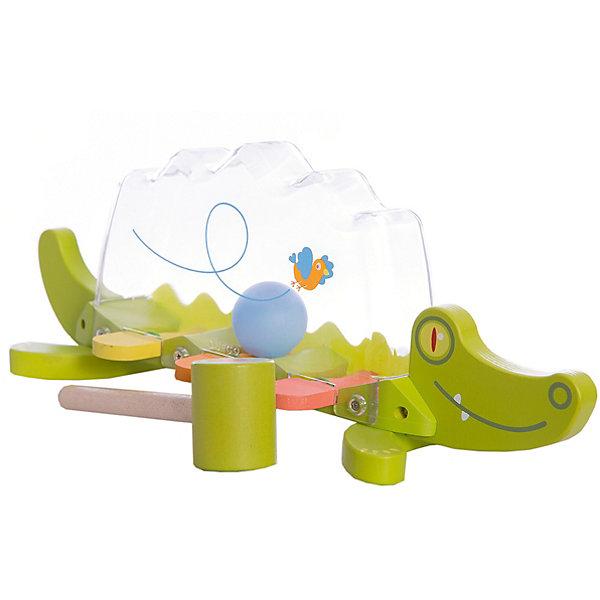 Развивающая игрушка Крокодил, DJECOРазвивающие игрушки<br>Развивающая игрушка Крокодил, Djeco (Джеко), развлечет и позабавит Вашего малыша. Игрушка выполнена в виде забавного зеленого крокодила с деревянным туловищем из разноцветных клавиш и прозрачной пластиковой спинкой. Внутри прозрачной полости катается шарик. Ударяя по клавишам молоточком (входит в комплект), малыш с интересом будет наблюдать как шарик звонко подпрыгивает верх. Игра сопровождается веселыми звуками. Игрушка изготовлена из высококачественных материалов и покрыта безопасными нетоксичными красками. Прекрасно развивает воображение, визуальное и слуховое восприятие, тренирует мелкую моторику рук.<br><br>Дополнительная информация:<br><br>- Материал: дерево, пластик.<br>- Размер игрушки: 37 х 12 х 14 см.<br>- Размер упаковки: 37,7 х 15,3 х 13 см.<br>- Вес: 0,35 кг.<br><br>Развивающую игрушку Крокодил, Djeco (Джеко), можно купить в нашем интернет-магазине.<br>Ширина мм: 130; Глубина мм: 280; Высота мм: 10; Вес г: 710; Возраст от месяцев: 12; Возраст до месяцев: 48; Пол: Унисекс; Возраст: Детский; SKU: 4215027;