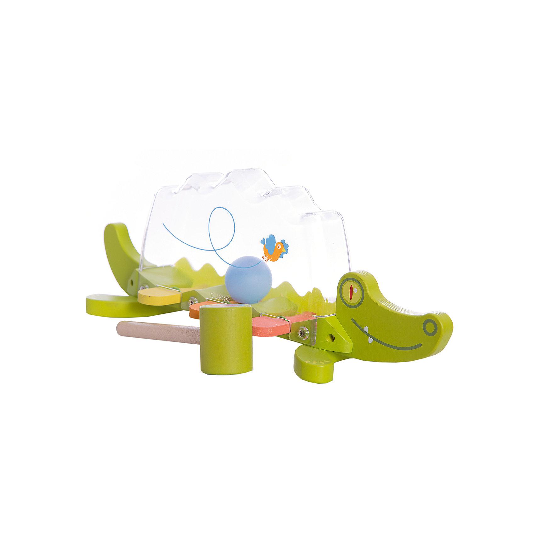 Развивающая игрушка Крокодил, DJECOРазвивающие игрушки<br>Развивающая игрушка Крокодил, Djeco (Джеко), развлечет и позабавит Вашего малыша. Игрушка выполнена в виде забавного зеленого крокодила с деревянным туловищем из разноцветных клавиш и прозрачной пластиковой спинкой. Внутри прозрачной полости катается шарик. Ударяя по клавишам молоточком (входит в комплект), малыш с интересом будет наблюдать как шарик звонко подпрыгивает верх. Игра сопровождается веселыми звуками. Игрушка изготовлена из высококачественных материалов и покрыта безопасными нетоксичными красками. Прекрасно развивает воображение, визуальное и слуховое восприятие, тренирует мелкую моторику рук.<br><br>Дополнительная информация:<br><br>- Материал: дерево, пластик.<br>- Размер игрушки: 37 х 12 х 14 см.<br>- Размер упаковки: 37,7 х 15,3 х 13 см.<br>- Вес: 0,35 кг.<br><br>Развивающую игрушку Крокодил, Djeco (Джеко), можно купить в нашем интернет-магазине.<br><br>Ширина мм: 130<br>Глубина мм: 280<br>Высота мм: 10<br>Вес г: 710<br>Возраст от месяцев: 12<br>Возраст до месяцев: 48<br>Пол: Унисекс<br>Возраст: Детский<br>SKU: 4215027