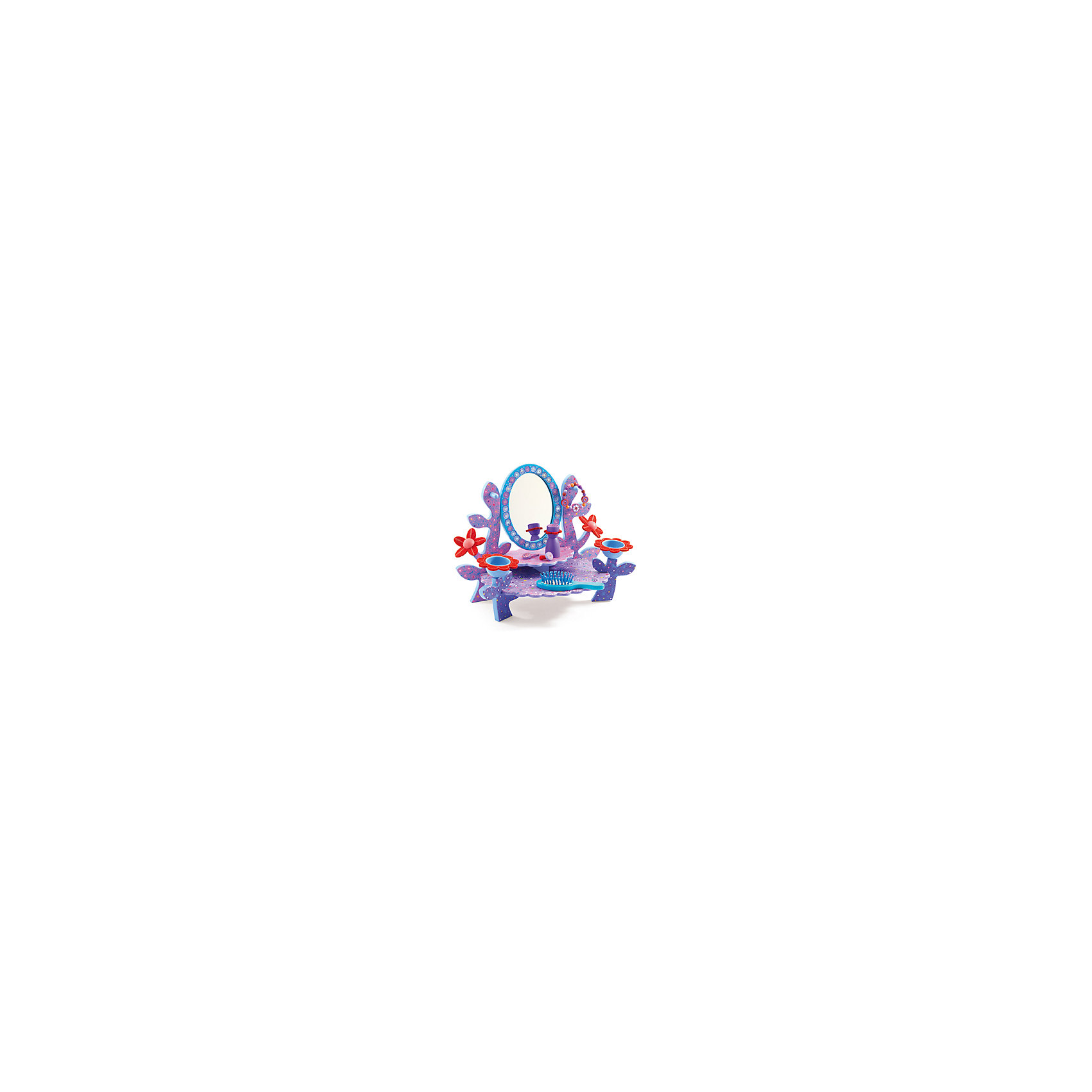 Набор Туалетный столик, DJECOНабор Туалетный столик, Djeco (Джеко) - красивый стильный подарок, который по достоинству будет оценен маленькой модницей. Чудесный столик выполнен в приятной сиреневой расцветке и имеет восхитительный дизайн со множеством изысканных деталей в растительном стиле. Здесь Вы найдете полочки, украшенные цветами, зеркальце в нарядной оправе, чашечки для мелочей в виде цветочных бутонов и удобные вешалки для бижутерии в форме листьев. Столик идеально подходит для сюжетно-ролевых игр в парикмахерскую или салон красоты, а входящие в комплект аксессуары помогут дополнить прическу или наряд любимой куколки.<br><br>Дополнительная информация:<br><br>- В комплекте: столик, расческа, заколка, колечко, браслет, игрушечный флакон для духов.<br>- Материал: дерево.<br>- Размер игрушки: 34,5 х 26 х 18 см.<br>- Размер упаковки: 35 х 30 х 8 см.<br>- Вес: 0,4 кг.<br><br>Набор Туалетный столик, Djeco (Джеко), можно купить в нашем интернет-магазине.<br><br>Ширина мм: 300<br>Глубина мм: 280<br>Высота мм: 10<br>Вес г: 1500<br>Возраст от месяцев: 48<br>Возраст до месяцев: 96<br>Пол: Унисекс<br>Возраст: Детский<br>SKU: 4215028