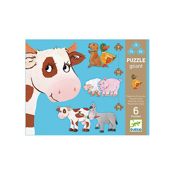 Пазл Дези и друзья, DJECOПазлы для малышей<br>Пазл Дези и друзья, Djeco (Джеко) - увлекательный развивающий набор, который станет отличным подарком для Вашего ребенка. С помощью входящих в набор деталей он сможет собрать 6 красочных пазлов с изображениями забавных обитателей фермы: коровы, ослика, барашка, поросенка, собачки и уточки. Пазлы отличаются размером и уровнем сложности, так, самые простые картинки состоят из 9 деталей, самые сложные - из 15. Собранных зверюшек можно поставить друг на друга в виде забавной горки (высота - 172 см.). Собирание пазла способствует развитию логического мышления, внимания, мелкой моторики и координации движений.<br> <br>Дополнительная информация:<br><br>- Материал: ламинированный картон. <br>- Количество деталей: 2 картинки из 9 деталей, 2 картинки из 12 деталей, 2 картинки из 15 деталей.<br>- Высота собранного пазла: 172 см.<br>- Размер упаковки: 33 x 25 x 8 см.<br>- Вес: 1,37 кг.<br><br>Пазл Дези и друзья, Djeco (Джеко), можно купить в нашем интернет-магазине.<br><br>Ширина мм: 330<br>Глубина мм: 280<br>Высота мм: 10<br>Вес г: 1480<br>Возраст от месяцев: 36<br>Возраст до месяцев: 72<br>Пол: Унисекс<br>Возраст: Детский<br>SKU: 4215031