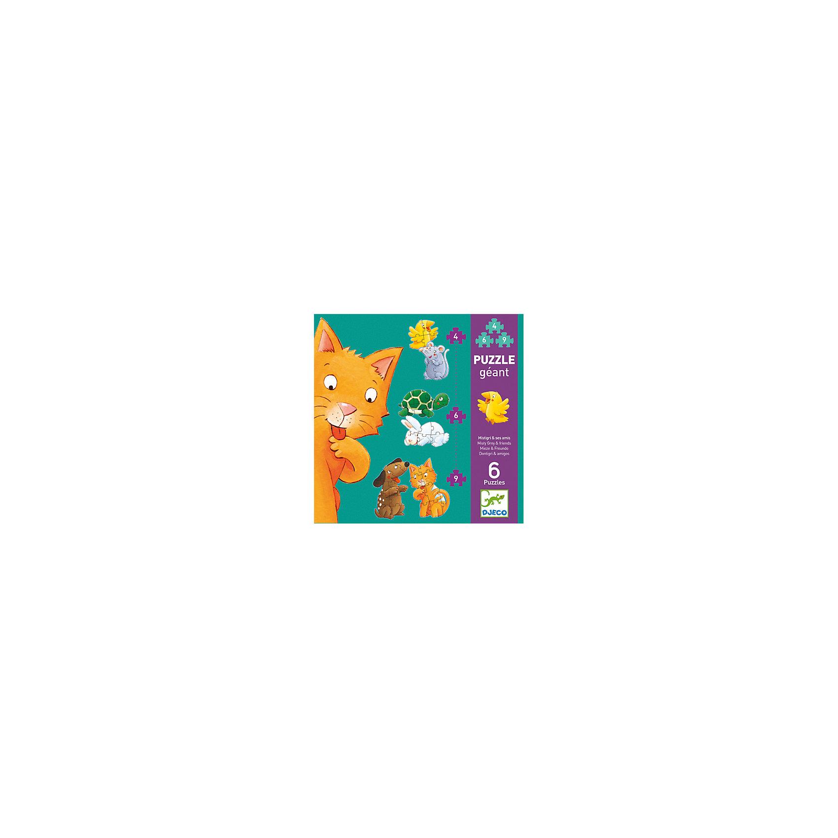 Пазл-гигант Мистигри и его друзья, DJECOПазл-гигант Мистигри и его друзья, Djeco (Джеко) - увлекательный развивающий набор, который станет отличным подарком для Вашего ребенка. С помощью входящих в набор деталей он сможет собрать 6 красочных пазлов с изображениями очаровательных зверюшек: котенком, собачкой, черепашкой, зайчиком, мышонком и цыпленком. Пазлы отличаются размером и уровнем сложности, так, самые простые картинки состоят из 4 деталей, самые сложные - из 9. Собранных зверюшек можно поставить друг на друга в виде забавной горки (высота - 130 см.). Собирание пазла способствует развитию логического мышления, внимания, мелкой моторики и координации движений. <br><br>Дополнительная информация:<br><br>- Материал: ламинированный картон. <br>- Количество деталей: 2 картинки из 4 деталей, 2 картинки из 6 деталей, 2 картинки из 9 деталей.<br>- Высота собранного пазла: 130 см.<br>- Размер упаковки: 25,5 х 25,5 х 6 см.<br>- Вес: 0,88 кг.<br><br>Пазл-гигант Мистигри и его друзья, Djeco (Джеко), можно купить в нашем интернет-магазине.<br><br>Ширина мм: 260<br>Глубина мм: 280<br>Высота мм: 10<br>Вес г: 880<br>Возраст от месяцев: 24<br>Возраст до месяцев: 72<br>Пол: Унисекс<br>Возраст: Детский<br>SKU: 4215032