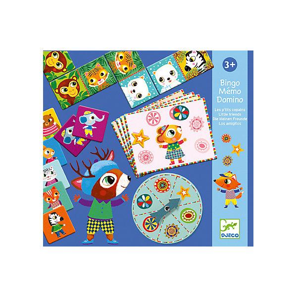 Набор из 3-ех настольных игр, DJECOДомино<br>Набор из трех настольных игр, Djeco (Джеко), разнообразит досуг Вашего ребенка и будет способствовать развитию логики и наблюдательности. В комплекте Вы найдете детали и карточки для трех настольных игр: домино, бинго и мемо. В классическом детском домино малышу предлагается подобрать карточку с соответствующим изображением животного. С одной стороны карточки изображено классическое домино, с другой картинка с животным. В игре Бинго участники по очереди крутят стрелку на колесе, выбирают выпавшую фишку и находят ее изображение на карточке. Игра Мемо - превосходная игра на тренировку логики и памяти. Набор способствует развитию логического мышления, сообразительности и внимательности.<br><br>Дополнительная информация:<br><br>- В комплекте: 28 деталей домино, 29 деталей бинго, 32 карточки мемо.<br>- Материал: многослойный картон.<br>- Размер упаковки: 30 х 28 х 3,5 см.<br><br>Набор из 3-х настольных игр, Djeco (Джеко), можно купить в нашем интернет-магазине.<br><br>Ширина мм: 220<br>Глубина мм: 280<br>Высота мм: 10<br>Вес г: 510<br>Возраст от месяцев: 48<br>Возраст до месяцев: 96<br>Пол: Унисекс<br>Возраст: Детский<br>SKU: 4215036