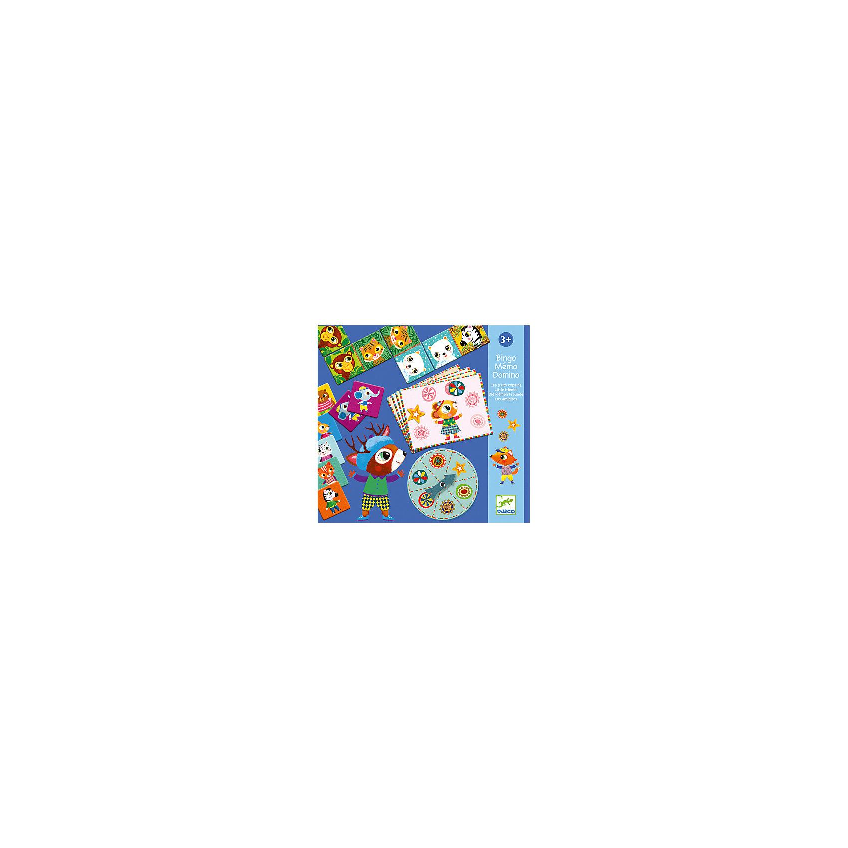Набор из 3-ех настольных игр, DJECOРазвивающие игры<br>Набор из трех настольных игр, Djeco (Джеко), разнообразит досуг Вашего ребенка и будет способствовать развитию логики и наблюдательности. В комплекте Вы найдете детали и карточки для трех настольных игр: домино, бинго и мемо. В классическом детском домино малышу предлагается подобрать карточку с соответствующим изображением животного. С одной стороны карточки изображено классическое домино, с другой картинка с животным. В игре Бинго участники по очереди крутят стрелку на колесе, выбирают выпавшую фишку и находят ее изображение на карточке. Игра Мемо - превосходная игра на тренировку логики и памяти. Набор способствует развитию логического мышления, сообразительности и внимательности.<br><br>Дополнительная информация:<br><br>- В комплекте: 28 деталей домино, 29 деталей бинго, 32 карточки мемо.<br>- Материал: многослойный картон.<br>- Размер упаковки: 30 х 28 х 3,5 см.<br><br>Набор из 3-х настольных игр, Djeco (Джеко), можно купить в нашем интернет-магазине.<br><br>Ширина мм: 220<br>Глубина мм: 280<br>Высота мм: 10<br>Вес г: 510<br>Возраст от месяцев: 48<br>Возраст до месяцев: 96<br>Пол: Унисекс<br>Возраст: Детский<br>SKU: 4215036