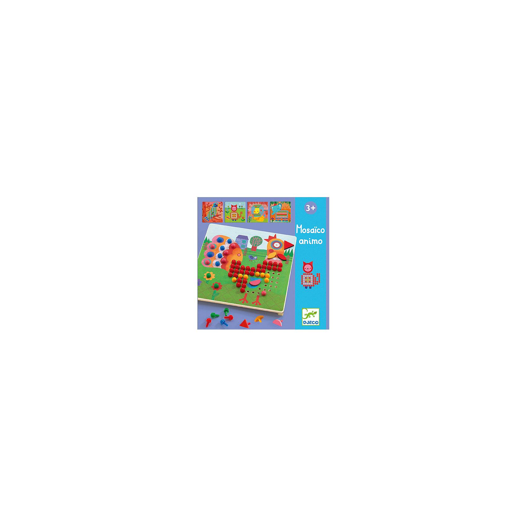 Мозаика Животные, DJECOМозаика Животные, Djeco (Джеко) - красочная развивающая игра для самых маленьких. В комплект входит деревянная основа, 8 трафаретов со схематичными изображениями животных и набор разноцветных гвоздиков разной формы. Малышу предлагается собрать понравившуюся картинку, заполнив цветными гвоздиками отверстия на трафарете. Итогом работы станет красочное изображение петушка, слоненка, львенка, павлина и других животных. Все детали изготовлены из высококачественных материалов и покрыты безопасными красками. Набор развивает фантазию и воображение, мелкую моторику, логическое мышление и сообразительность. <br><br>Дополнительная информация:<br><br>- В комплекте: деревянная основа, 8 трафаретов, 230 пластиковых гвоздиков разной формы.<br>- Материал: дерево, пластик.<br>- Размер упаковки: 21,5 х 21,5 х 5 см.<br><br>Мозаику Животные, Djeco (Джеко), можно купить в нашем интернет-магазине.<br><br>Ширина мм: 220<br>Глубина мм: 280<br>Высота мм: 10<br>Вес г: 510<br>Возраст от месяцев: 36<br>Возраст до месяцев: 72<br>Пол: Унисекс<br>Возраст: Детский<br>SKU: 4215037