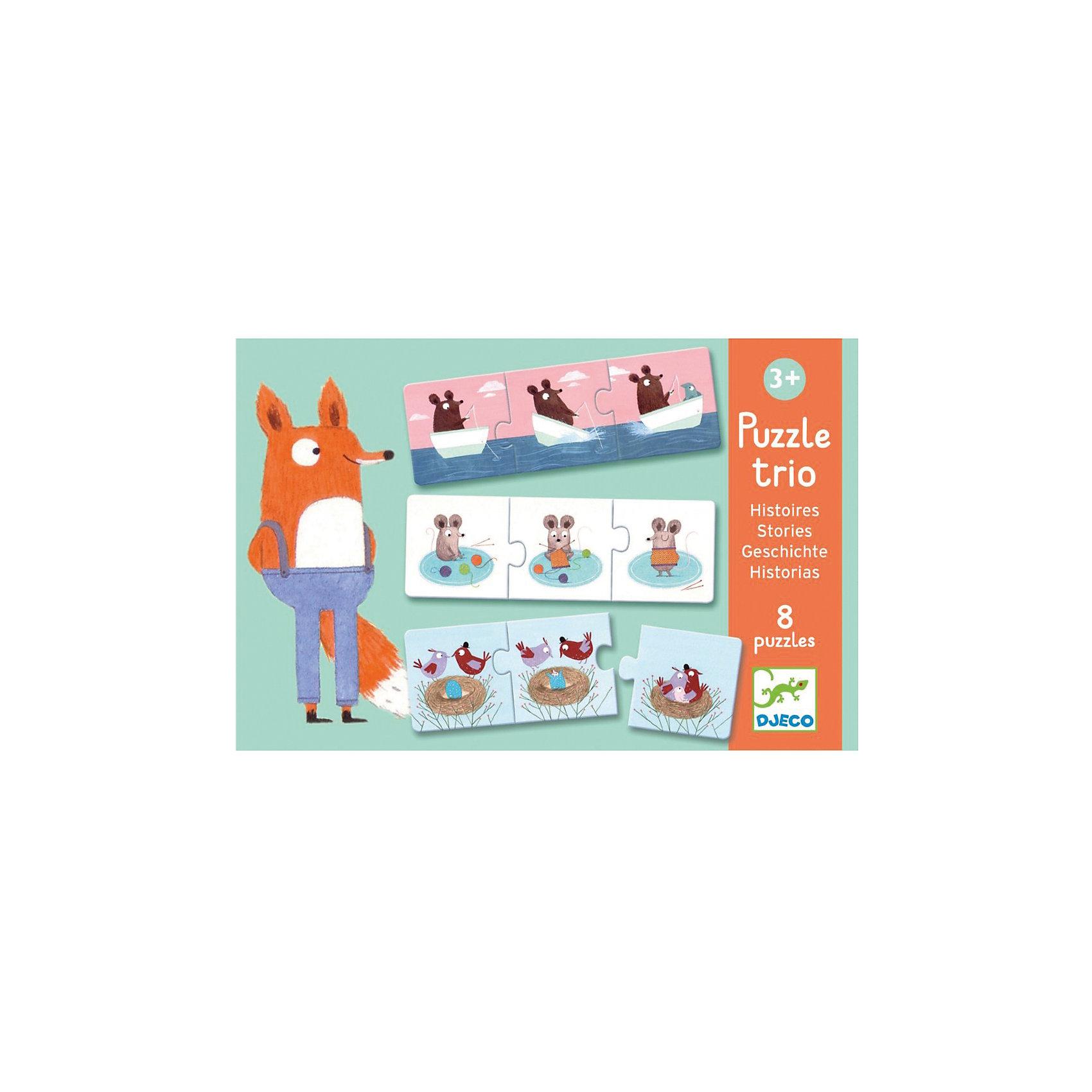 Настольная игра Истории, DJECOУвлекательная настольная игра Истории, Djeco (Джеко) - идеальный вариант для совместного времяпрепровождения с ребенком или для детского праздника. В комплекте 24 красочные детали, из которых малышу предлагается собрать 8 картинок-пазлов, соответствующих друг другу по форме, рисунку и содержанию. К собранной картинке нужно придумать и рассказать историю. Все детали изготовлены из высококачественных материалов и покрыты безопасными красками. Игра развивает логическое и творческое мышление, сообразительность и внимательность.<br><br>Дополнительная информация:<br><br>- В комплекте: 24 детали.<br>- Материал: многослойный картон.<br>- Размер упаковки: 18 х 12 х 6 см.<br><br>Настольную игру Истории, Djeco (Джеко), можно купить в нашем интернет-магазине.<br><br>Ширина мм: 60<br>Глубина мм: 280<br>Высота мм: 10<br>Вес г: 370<br>Возраст от месяцев: 36<br>Возраст до месяцев: 72<br>Пол: Унисекс<br>Возраст: Детский<br>SKU: 4215038