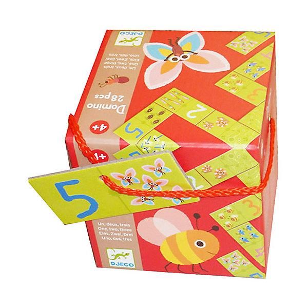 Домино «Раз, два, три», DJECOДомино<br>Домино Раз, два, три, Djeco (Джеко) - новый вариант классической настольной игры, которая в веселой увлекательно форме обучит ребенка цифрам и счету от 1 до 10. На карточках домино для малышей с одной стороне нарисована цифра, с другой - картинка с изображением соответствующего числа животных. Игроки по очереди выкладывают карточки домино так, чтобы каждая последующая начиналась с того числа, на которое заканчивается предыдущая. Победителем становится первый, кто останется без карточек. В процессе игры ребенок учится сравнивать, запоминает цифры и изучает основы счета. Все детали набора изготовлены из высококачественных материалов и покрыты безопасными красками. Игра развивает логику, внимание, память, умение сравнивать и сопоставлять предметы. <br><br>Дополнительная информация:<br><br>- В комплекте: 28 карточек домино.<br>- Материал: картон.<br>- Размер одной карточки: 10 х 5 см.<br>- Размер упаковки: 12 х 12 х 12 см.<br>- Вес: 100 гр.<br><br>Домино Раз, два, три, Djeco (Джеко), можно купить в нашем интернет-магазине.<br><br>Ширина мм: 120<br>Глубина мм: 280<br>Высота мм: 10<br>Вес г: 420<br>Возраст от месяцев: 48<br>Возраст до месяцев: 96<br>Пол: Унисекс<br>Возраст: Детский<br>SKU: 4215040