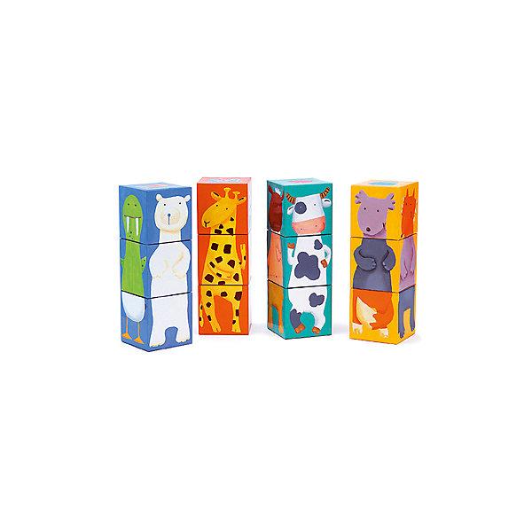 Кубики Животные, 12 шт., DJECOКубики<br>Кубики Животные, Djeco (Джеко) - классическая, любимая малышами игра, выполненная  в ярком красочном дизайне. В комплекте 12 кубиков, из которых можно собрать четыре башенки-картинки с изображениями симпатичных зверюшек на каждой стороне. Играя с кубиками Djeco (Джеко) малыш изучает цвета и формы, знакомится с разными видами животных и расширяет свой кругозор. Все кубики изготовлены из плотного качественного картона с использованием безопасных красок. Набор развивает логическое мышление, воображение и сообразительность, тренирует мелкую моторику рук.<br><br>Дополнительная информация:<br><br>- В комплекте: 12 кубиков.<br>- Материал: плотный картон. <br>- Высота одной собранной башенки: 18 см.<br>- Размер упаковки: 24,5 x 18,5 x 6,5 см.<br>- Вес: 0,4 кг.<br><br>Кубики Животные, Djeco (Джеко), можно купить в нашем интернет-магазине.<br>Ширина мм: 250; Глубина мм: 280; Высота мм: 10; Вес г: 400; Возраст от месяцев: 36; Возраст до месяцев: 72; Пол: Унисекс; Возраст: Детский; SKU: 4215042;