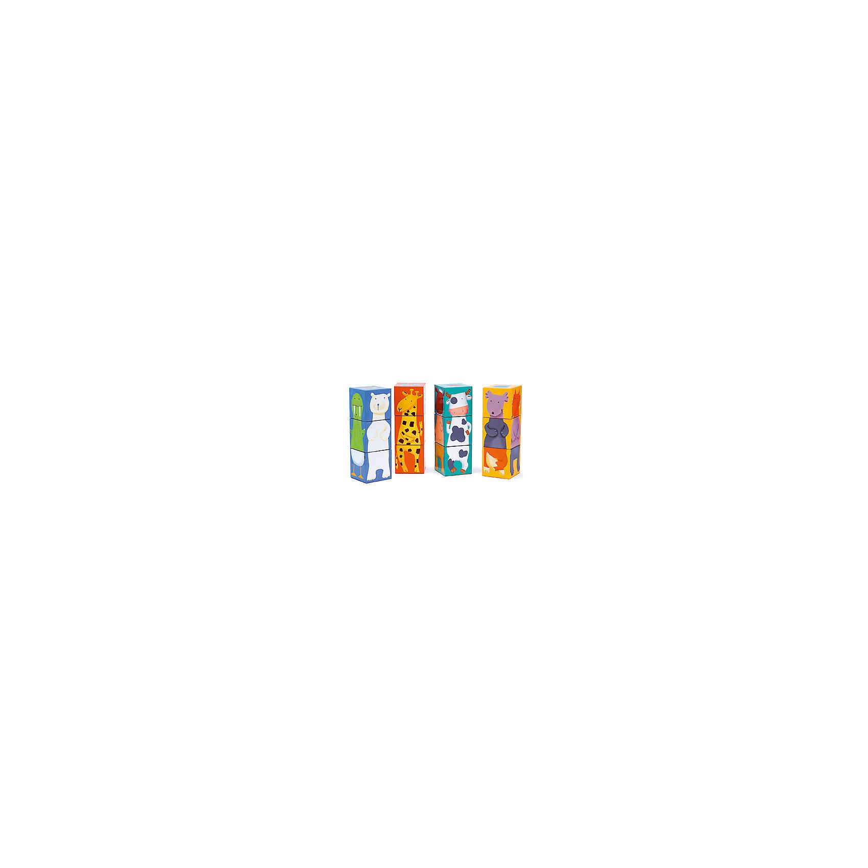 Кубики Животные, 12 шт., DJECOКубики<br>Кубики Животные, Djeco (Джеко) - классическая, любимая малышами игра, выполненная  в ярком красочном дизайне. В комплекте 12 кубиков, из которых можно собрать четыре башенки-картинки с изображениями симпатичных зверюшек на каждой стороне. Играя с кубиками Djeco (Джеко) малыш изучает цвета и формы, знакомится с разными видами животных и расширяет свой кругозор. Все кубики изготовлены из плотного качественного картона с использованием безопасных красок. Набор развивает логическое мышление, воображение и сообразительность, тренирует мелкую моторику рук.<br><br>Дополнительная информация:<br><br>- В комплекте: 12 кубиков.<br>- Материал: плотный картон. <br>- Высота одной собранной башенки: 18 см.<br>- Размер упаковки: 24,5 x 18,5 x 6,5 см.<br>- Вес: 0,4 кг.<br><br>Кубики Животные, Djeco (Джеко), можно купить в нашем интернет-магазине.<br><br>Ширина мм: 250<br>Глубина мм: 280<br>Высота мм: 10<br>Вес г: 400<br>Возраст от месяцев: 36<br>Возраст до месяцев: 72<br>Пол: Унисекс<br>Возраст: Детский<br>SKU: 4215042