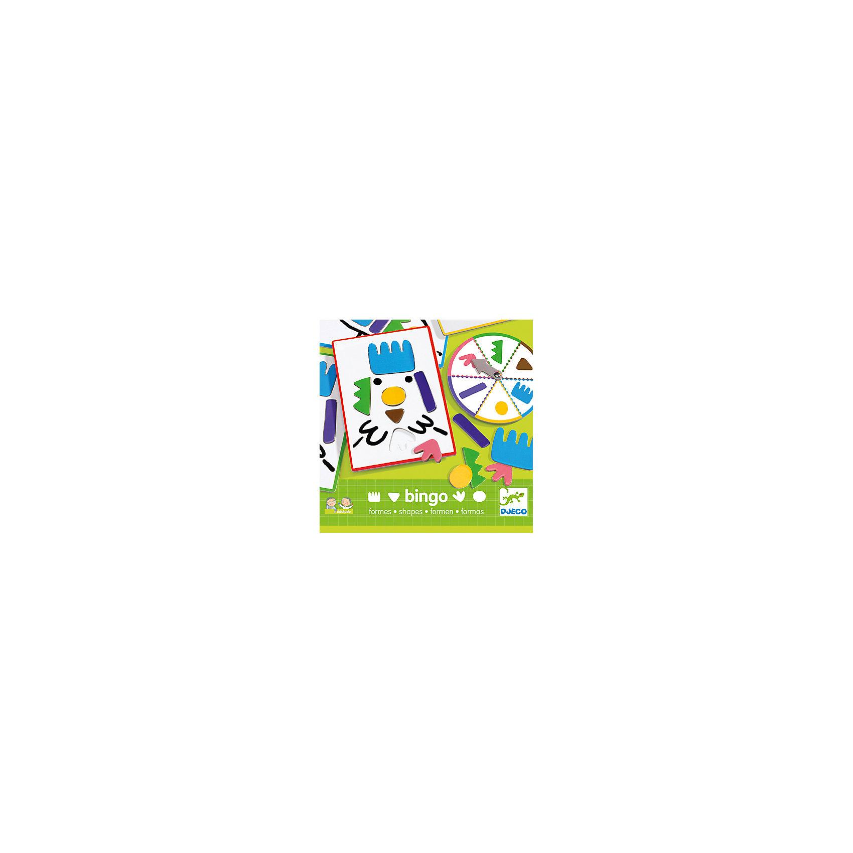Настольная игра Бинго Формы, DJECOУвлекательная настольная игра Бинго Формы, Djeco (Джеко) - идеальный вариант для совместного времяпрепровождения с ребенком или для детского праздника. В игре могут участвовать от 1 до 4 игроков. Каждый участник получает карточку с пустыми формами, которые надо заполнить соответствующими деталями, в итоге должен получится забавный рисунок. Участники по очереди вращают рулетку и ищут на своих карточках выпавшую на колесе деталь. Выигрывает тот, кто последним соберет собственный рисунок. В процессе игры ребенок знакомиться с различными формами, учиться сопоставлять их и различать по цвету. Все детали изготовлены из плотного качественного картона с использованием безопасных красок. Игра развивает логическое мышление, сообразительность, внимательность и быстроту реакции.<br><br>Дополнительная информация:<br><br>- В комплекте: 4 карточки, 24 различные формы, рулетка. <br>- Материал: картон.<br>- Размер упаковки: 21,5 х 21,5 х 3,5 см.<br>- Вес: 0,73 кг.<br><br>Настольную игру Бинго Формы, Djeco (Джеко), можно купить в нашем интернет-магазине.<br><br>Ширина мм: 220<br>Глубина мм: 280<br>Высота мм: 10<br>Вес г: 730<br>Возраст от месяцев: 36<br>Возраст до месяцев: 72<br>Пол: Унисекс<br>Возраст: Детский<br>SKU: 4215043