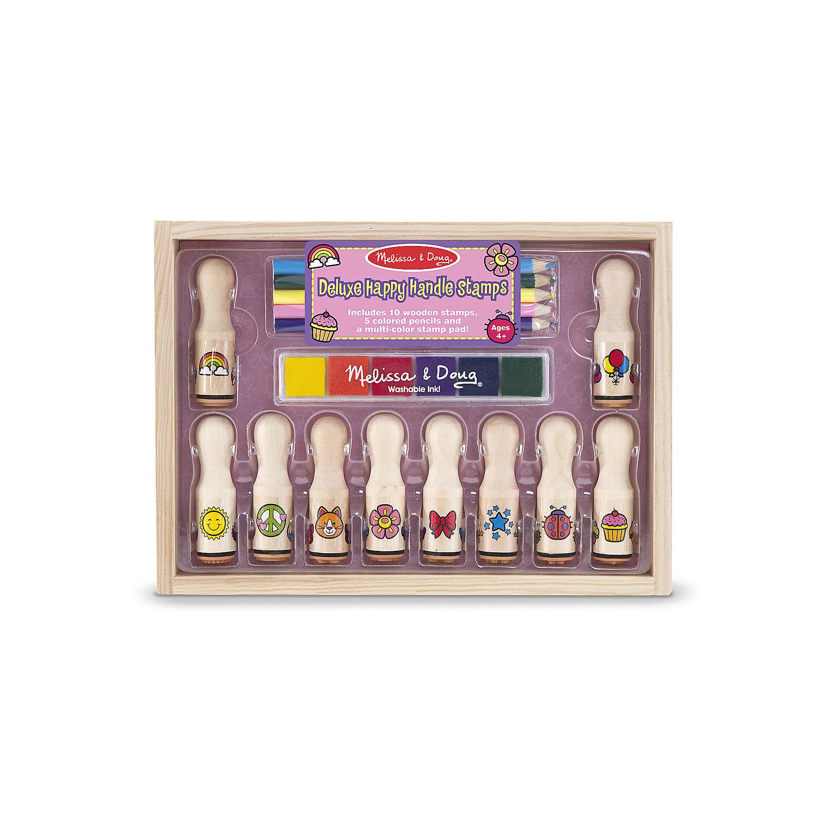 Набор штампов ДелюксПотрясающий Набор штампов Делюкс в деревянной коробке представлен в виде удобных штампов с различными изображениями, ярких красок и карандашами различных цветов, которые легко наносятся на бумагу. Яркая радуга, цветок, пирожное, воздушные шары, звезды или очаровательный котик украсят тетрадь вашего ребенка. Набор штампов из дерева поможет Вашему ребенку занимательно и полезно провести досуг!<br><br>Характеристики:<br>-Краски не токсичны, легко смываются<br>-Изображение получается красочным с четким контуром<br>-Развитие навыков: мышление, воображение, внимание, мелкая моторика, художественные навыки<br>-Печати закреплены на длинных ручках, чтобы ребенок не пачкался в краске<br><br>Комплектация: 10 печатей (солнышко, мир, кошка, цветок, бант, звезды, божья коровка, пирог, шарики, радуга), 5 цветных карандашей, 6 красок для штампов<br><br>Дополнительная информация:<br><br>-Размер упаковки: 26x19x7 см<br>-Материалы: дерево, чернила<br>-Вес в упаковке: 634 г<br><br>При помощи штампов и дополнительных красок и карандашей Ваш ребенок создаст оригинальную картину, которую можно сохранить на память или подарить друзьям!<br><br>Набор штампов Делюкс можно купить в нашем магазине.<br><br>Ширина мм: 260<br>Глубина мм: 70<br>Высота мм: 190<br>Вес г: 634<br>Возраст от месяцев: 48<br>Возраст до месяцев: 144<br>Пол: Унисекс<br>Возраст: Детский<br>SKU: 4216548