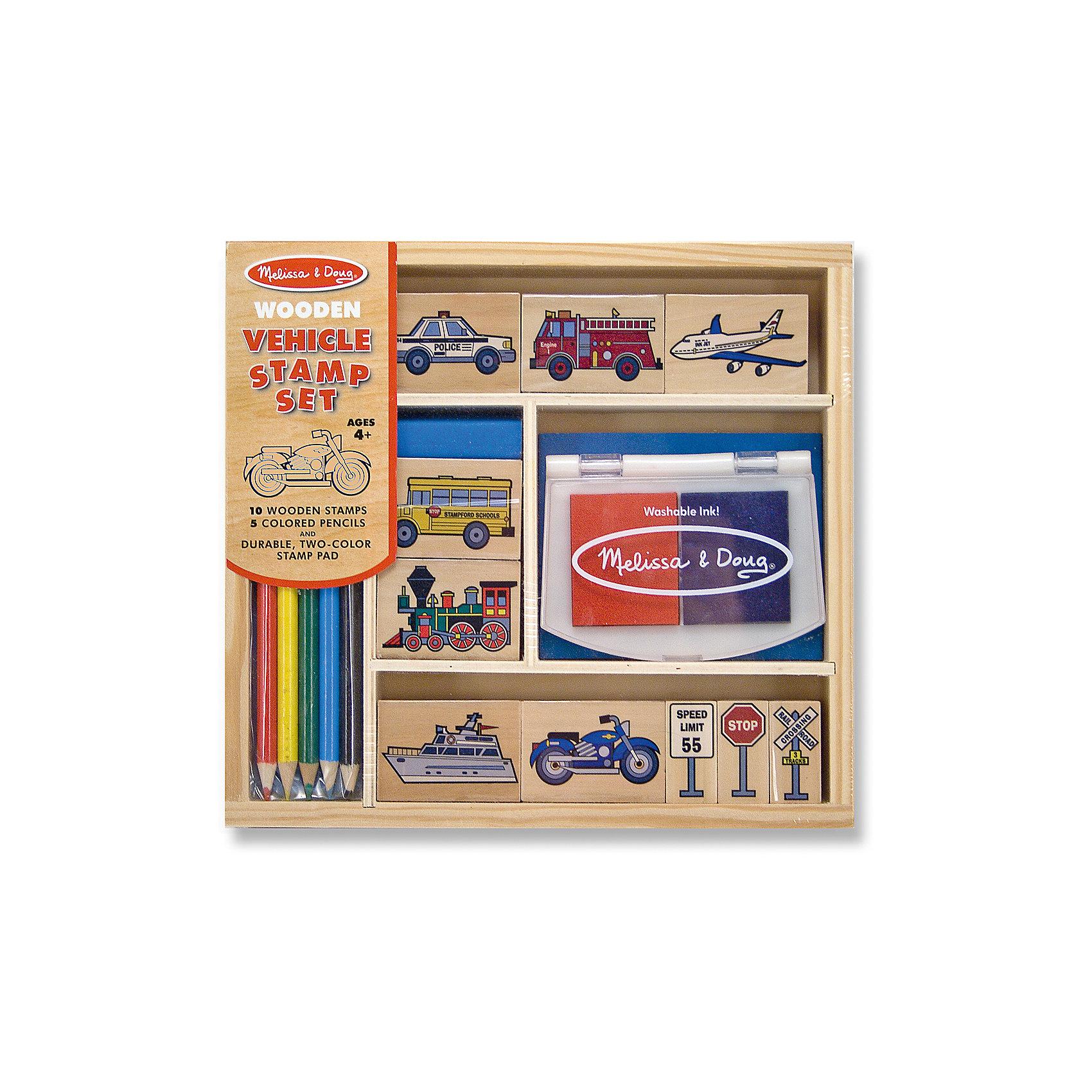 Набор штампов ТранспортНабор штампов Транспорт включает нетоксичную двухцветную штемпельную подушечку, 10 печатей с изображениями машинок и дорожных знаков, набор разноцветных карандашей. Изображениями можно украсить тетрадь или сделать оригинальные картинки из контуров, которые раскрашиваются цветными карандашами. Набор деревянных штампов станет прекрасным подарком для любого мальчика или девочки!<br><br>Характеристики:<br>-Краски не токсичны, легко смываются<br>-Изображение получается красочным с четким контуром<br>-Развитие навыков: мышление, воображение, внимание, мелкая моторика, художественные навыки, цветовосприятие, трудолюбие<br>-Печати закреплены на длинных ручках, чтобы ребенок не пачкался в краске<br>-Набор упакован в деревянный лоток с перегородками<br><br>Комплектация: 10 штампов (3 дорожных знака, мотоцикл, катер, паровоз, школьный автобус, полицейская и пожарная машины, самолет), 2 губки для штампов, 5 карандашей<br><br>Дополнительная информация:<br>-Размер упаковки: 22x21x4 см<br>-Материалы: дерево, чернила<br>-Вес в упаковке: 634 г<br><br>Создавая с помощью набора штампов «Транспорт» оригинальные картины с участием транспортных средств ребенок знакомится с правилами дорожного движения, может проиграть реальную ситуацию, встречающуюся на улицах города.<br><br>Набор штампов Транспорт можно купить в нашем магазине.<br><br>Ширина мм: 220<br>Глубина мм: 40<br>Высота мм: 210<br>Вес г: 634<br>Возраст от месяцев: 48<br>Возраст до месяцев: 144<br>Пол: Унисекс<br>Возраст: Детский<br>SKU: 4216549