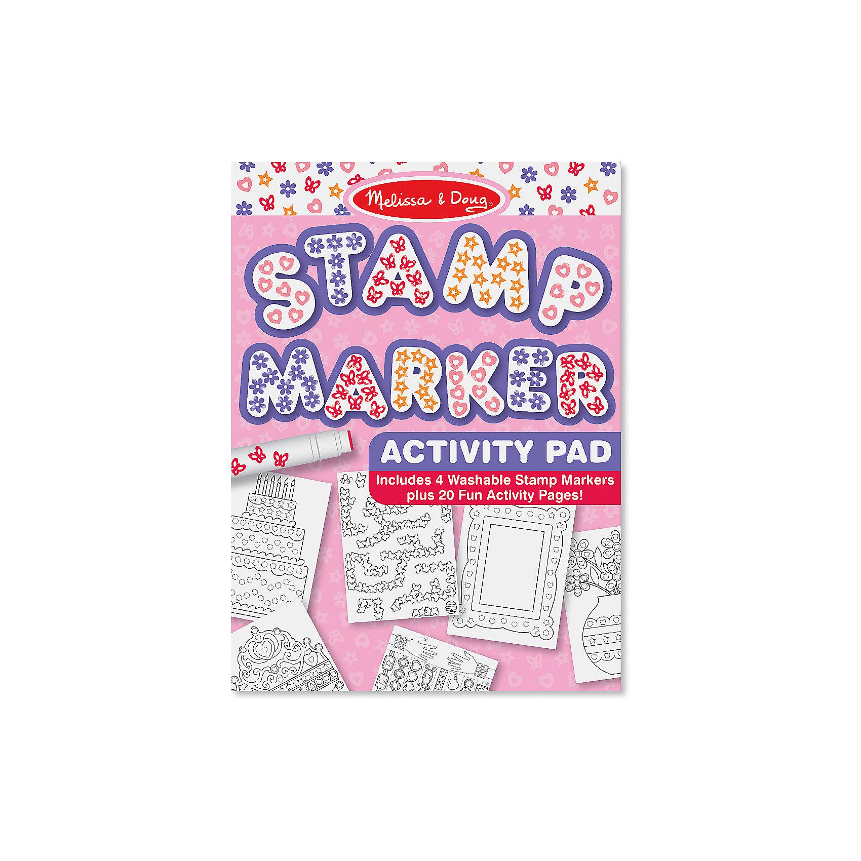 Набор штампов РозовыйДетские печати и штампы<br>Используя замечательный творческий Набор штампов Розовый, состоящий из 4 маркеров с различными оттисками и 20 заготовок с черно-белыми изображениями, можно создать 20 красочных картинок, украсить тетрадь или открытку. Яркие маркеры, которые оставляют следы в форме сердечек, бабочек и звездочек смогут оживить любой рисунок! <br><br>Комплектация: 4 фломастера со штампами (оранжевая звезда, розовое сердце, красные бабочки и фиолетовые цветы), 20 листов для раскрашивания<br><br>Дополнительная информация:<br>-Цвет: розовый<br>-Размер упаковки: 21x29x2 см<br>-Материалы: пластик, картон<br>-Вес в упаковке: 340 г<br><br>При помощи штампов Ваш ребенок создаст оригинальную картину, которую можно сохранить на память или подарить друзьям и близким!<br><br>Набор штампов Розовый можно купить в нашем магазине.<br><br>Ширина мм: 210<br>Глубина мм: 20<br>Высота мм: 290<br>Вес г: 340<br>Возраст от месяцев: 48<br>Возраст до месяцев: 144<br>Пол: Унисекс<br>Возраст: Детский<br>SKU: 4216550