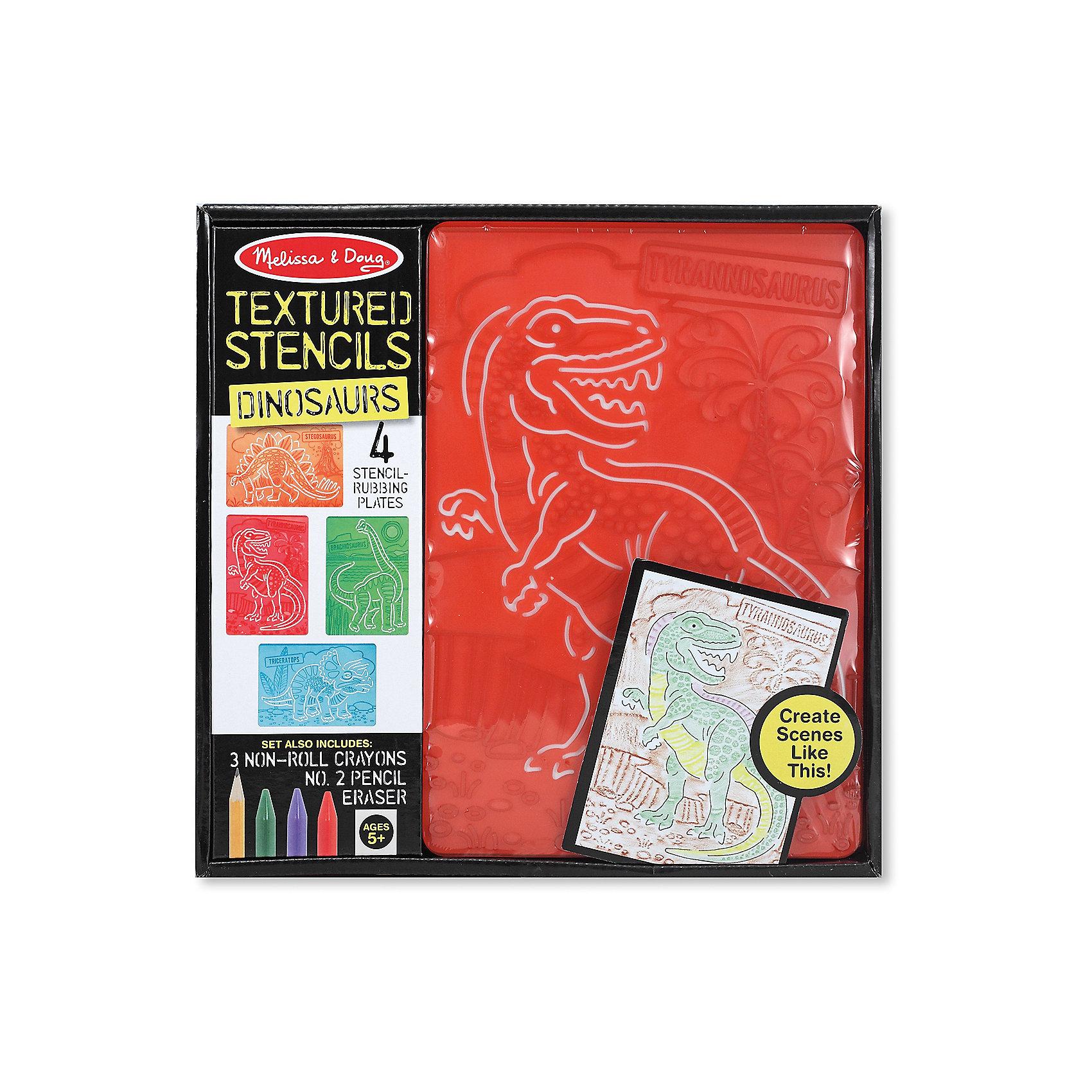 Набор для творчества Трафареты. ДинозаврыНабор для творчества Трафареты. Динозавры включает в себя 4 трафарета, простой карандаш, 3 восковых мелка и ластик, позволяющих Вашему ребенку легко создавать драматические сцены из жизни доисторических существ с помощью собственного воображения! Набор для творчества  будет стимулировать творческое развитие ребенка, развитие фантазии, познавательной активности, логического и абстрактного мышления, мелкой моторики.<br><br>Комплектация: 1 карандаш, 3 восковых мелка, 4 трафарета, ластик <br><br>Дополнительная информация:<br>-Размер упаковки: 29х3х28 см<br>-Материалы: дерево, пластик<br>-Вес в упаковке: 385 г<br><br>При помощи трафаретов и разноцветных мелков Ваш ребенок создаст множество оригинальных картин, которые можно сохранить на память или дарить друзьям и близким!<br><br>Набор для творчества Трафареты. Динозавры можно купить в нашем магазине.<br><br>Ширина мм: 290<br>Глубина мм: 30<br>Высота мм: 280<br>Вес г: 385<br>Возраст от месяцев: 60<br>Возраст до месяцев: 144<br>Пол: Унисекс<br>Возраст: Детский<br>SKU: 4216555
