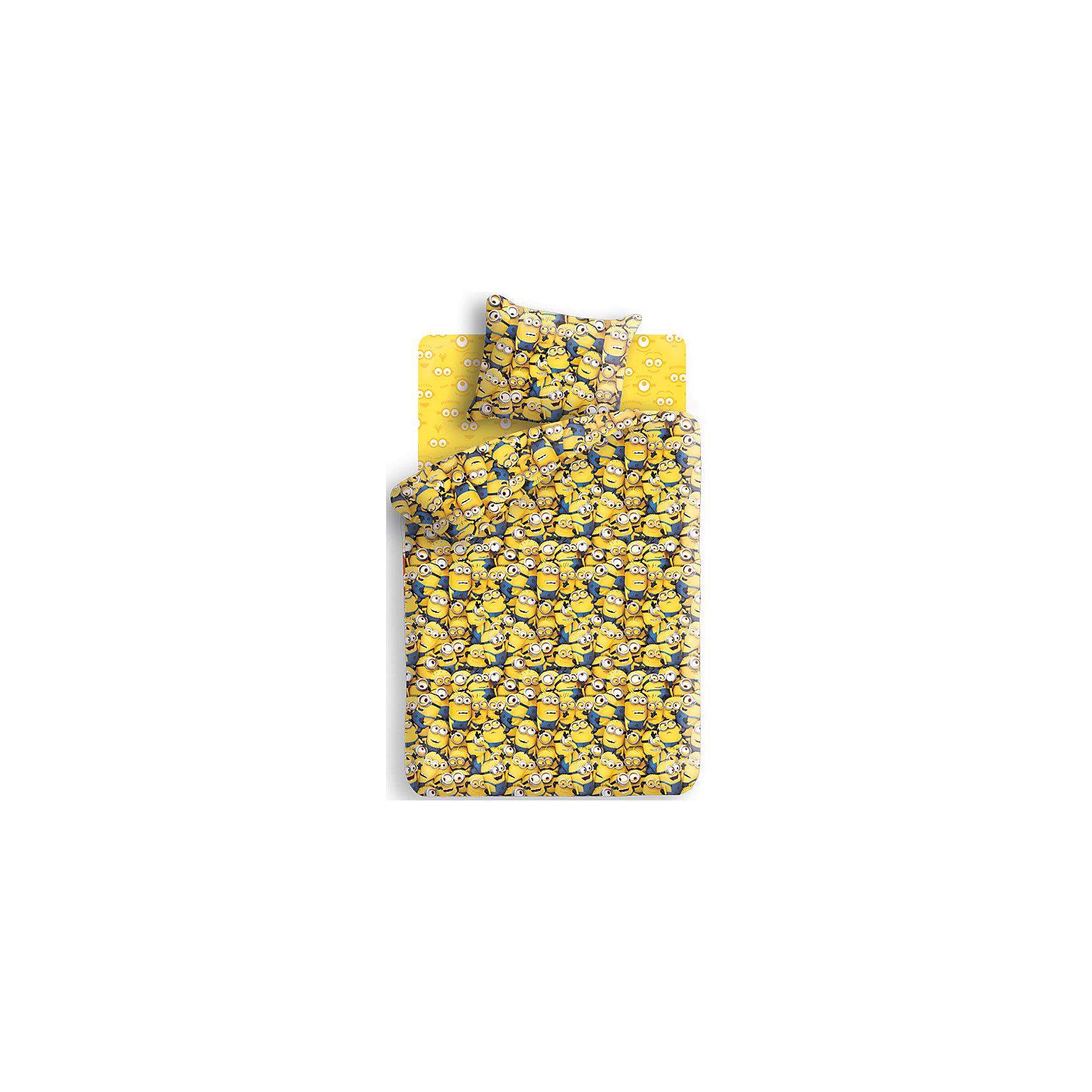 Комплект Миньоны (наволочка 70*70 см) 1,5-спальныйНовинки для детской<br>Комплект Миньоны (наволочка 70*70 см) 1,5-спальный - этот КПБ поможет не расставаться с любимыми героями даже во сне.<br>Комплект постельного белья Миньоны, 1,5-спальный, станет приятным сюрпризом для всех маленьких поклонников популярного мультфильма Гадкий Я. Комплект выполнен по мотивам любимого мультика и украшен изображениями его забавных персонажей - миньонов. Материал представляет собой качественную плотную бязь, очень комфортную и приятную на ощупь. Ткань отвечает всем экологическим нормам безопасности, дышащая, гипоаллергенная, не нарушает естественные процессы терморегуляции. При стирке белье не линяет, не деформируется и не теряет своих красок даже после многочисленных стирок, а также отличается хорошей износостойкостью.<br><br>Дополнительная информация:<br><br>- Размер комплекта: полутораспальный<br>- Тип ткани: бязь (100% хлопок)<br>- Плотность ткани 119г/м2<br>- В комплекте: 1 наволочка, 1 пододеяльник и 1 простыня<br>- Тип застежки: клапан<br>- Размер пододеяльника: 215 х 143 см.<br>- Размер наволочки: 70 х 70 см.<br>- Размер простыни: 214 х 150 см.<br>- Стирка при 40°C<br>- Размер упаковки: 35 х 24,5 х 6,5 см.<br>- Вес: 900 г.<br><br>Комплект Миньоны (наволочка 70*70 см) 1,5-спальный можно купить в нашем интернет-магазине.<br><br>Ширина мм: 350<br>Глубина мм: 245<br>Высота мм: 65<br>Вес г: 900<br>Возраст от месяцев: 36<br>Возраст до месяцев: 168<br>Пол: Унисекс<br>Возраст: Детский<br>SKU: 4217966