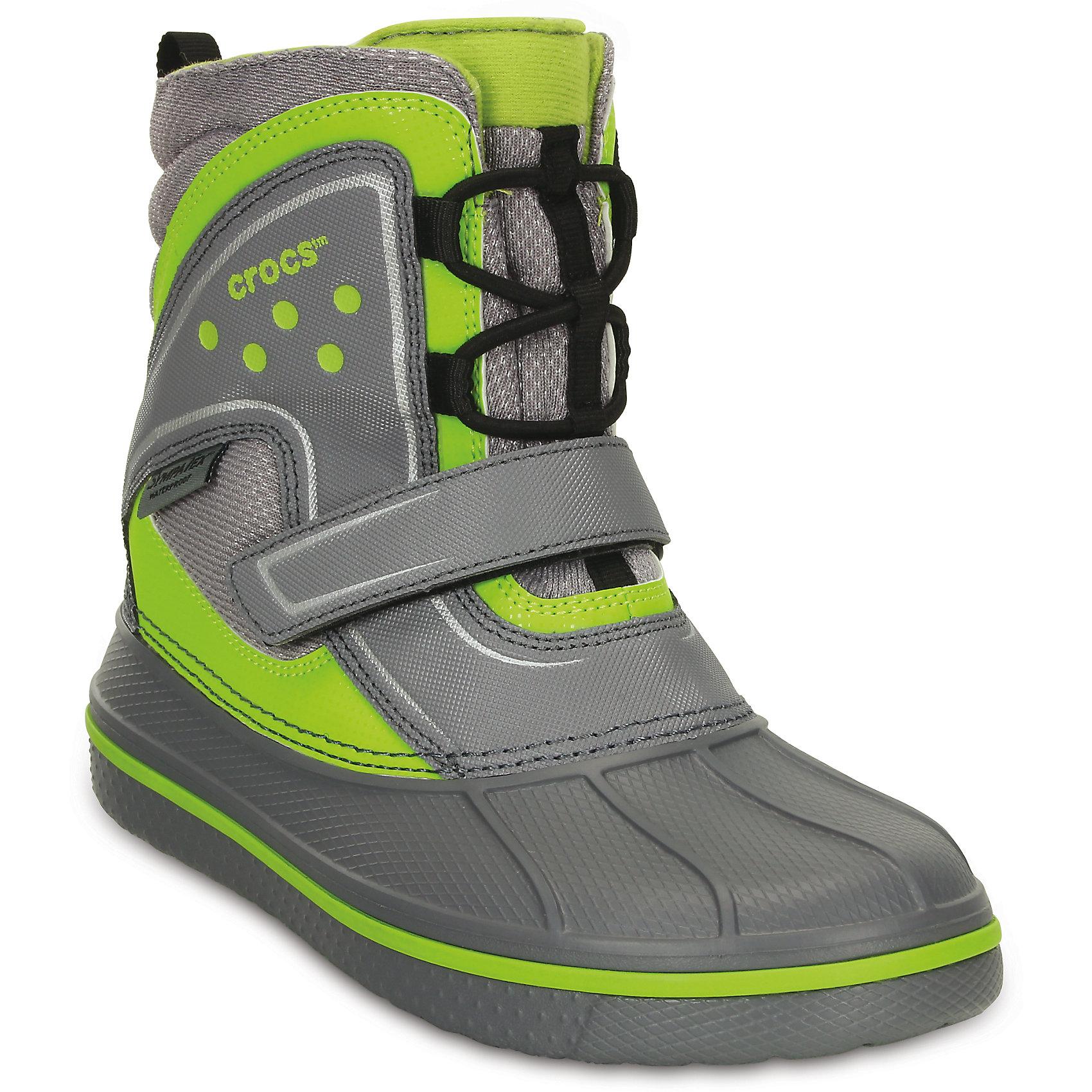 Ботинки CrocsИ в мороз, и в слякоть – в любых условиях и вопреки любым прогнозам синоптиков в этих ботинках ноги останутся сухими и теплыми! Использование мембраны Sympatex® делает их на 100% водонепроницаемыми. Мембрана позволяет обуви «дышать», предохраняет от намокания и сохраняет ноги сухими и теплыми. Верх из искусственной кожи, полностью литая основа из материала Croslite™ для легкости и мягкости при ходьбе. Модель на шнуровке для оптимальной фиксации. Подкладка из материала Thinsulate™ сохранит тепло. Накат из резины на подошве для большей устойчивости. Наличие светоотражающих элементов. Эластичные шнурки облегчат надевание. Глухой язычок предотвращает попадание воды внутрь, а липучки надежно фиксируют ступню. При использовании данной модели необходимо следовать общим рекомендациям по ношению обуви с мембранными материалами.<br><br>Материал Croslite™ (Крослайт) используется при производстве любой пары обуви Crocs. Это отличительная особенность обуви Crocs, секрет ее комфорта и уникальности – то, что делает каждую модель Crocs удобной, легкой, яркой. Данный материал принимает форму стопы, что обеспечивает комфорт в течение всего дня. Обувь легко моется, невероятно легкая и мягкая.<br><br>Состав: Полимерный материал Крослайт.<br><br>Ширина мм: 262<br>Глубина мм: 176<br>Высота мм: 97<br>Вес г: 427<br>Цвет: серый<br>Возраст от месяцев: 108<br>Возраст до месяцев: 120<br>Пол: Унисекс<br>Возраст: Детский<br>Размер: 30,32,36,37,33,26,31,34,29,28,27<br>SKU: 4218029