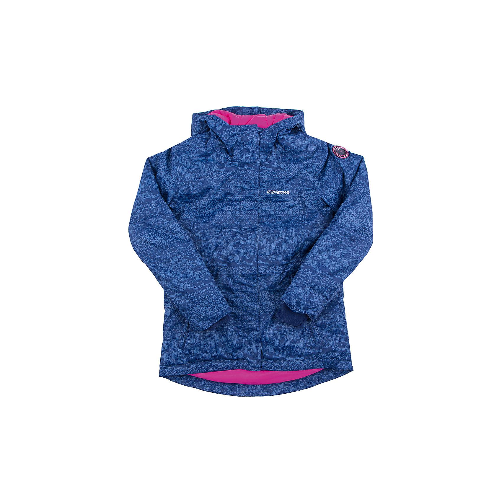Куртка для девочки ICEPEAKКуртка для девочки ICEPEAK. <br><br>Состав: 100% полиэстер <br><br>Куртка с капюшоном<br>Принт<br>Молния закрыта планкой<br>Сформированный локоть<br>Утяжка в нижней части куртки<br>Утяжка по талии<br>Трикотажный  манжет в рукаве<br>Утепленные и мягкие карманы на молнии<br>Мягкий и теплый внутренний воротник<br>Светоотражающие элементы<br>Швы прошиты<br>Искусственный утеплитель Finnwad, утепление 180/140 гр.<br>Рекомендуемый температурный режим до -20 °.<br><br>Технологии: Icemax, 2000<br>Технология Icemax надёжно защищает от ветра и дождя.<br>Children's safety<br>Изделия бренда произведены в полном соответствии с требованиями безопасности для детей: отстегивающийся капюшон, безопасная утягивающаяся тесьма в кармашках, светоотражатели.<br>Reflectors<br>Эффективные светоотражатели позволят чувствовать себя в безопасности в любых погодных условиях, особенно в темное время суток.<br><br>Ширина мм: 356<br>Глубина мм: 10<br>Высота мм: 245<br>Вес г: 519<br>Цвет: синий<br>Возраст от месяцев: 60<br>Возраст до месяцев: 72<br>Пол: Женский<br>Возраст: Детский<br>Размер: 116,164,176,128,140,152<br>SKU: 4220555