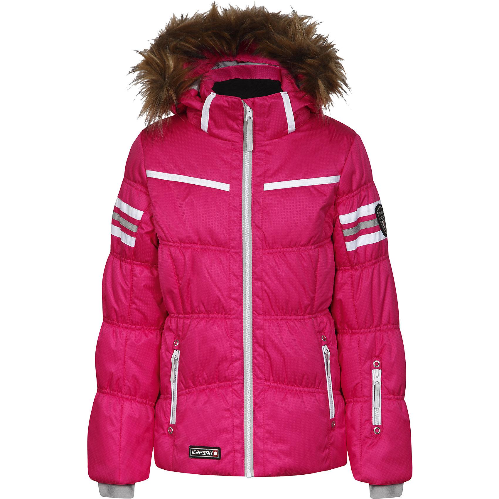 """Куртка для девочки ICEPEAKКуртка для девочки ICEPEAK. <br><br>Состав: 100% полиэстер <br><br>Куртка с отстегивающимся капюшоном<br>Капюшон с искусственным мехом<br>Молния закрыта планкой<br>Сформированный локоть<br>Утяжка в нижней части куртки<br>Снегозащитная юбка<br>Внутренний трикотажный манжет на рукаве<br>Утепленные и мягкие боковые карманы на молнии<br>Мягкий и теплый внутренний воротник<br>Карман для ski pass на рукаве<br>Светоотражающие элементы<br>Искусственный утеплитель  Finnwad, утепление 245/200 гр.<br>Рекомендуемый температурный режим до -30 °.<br><br>Технологии: <br>IceTech, 2000/2000<br>""""Дышаший"""" и водонепроницаемый материал с характеристиками  2000mm/2000g/m2/24h, надёжно защищает от ветра и дождя<br>Children's safety<br>Изделия бренда произведены в полном соответствии с требованиями безопасности для детей: отстегивающийся капюшон, безопасная утягивающаяся тесьма в кармашках, светоотражатели.<br>Reflectors<br>Эффективные светоотражатели позволят чувствовать себя в безопасности в любых погодных условиях, особенно в темное время суток.<br><br>Ширина мм: 356<br>Глубина мм: 10<br>Высота мм: 245<br>Вес г: 519<br>Цвет: розовый<br>Возраст от месяцев: 180<br>Возраст до месяцев: 192<br>Пол: Женский<br>Возраст: Детский<br>Размер: 152,128,140,164,176<br>SKU: 4220642"""