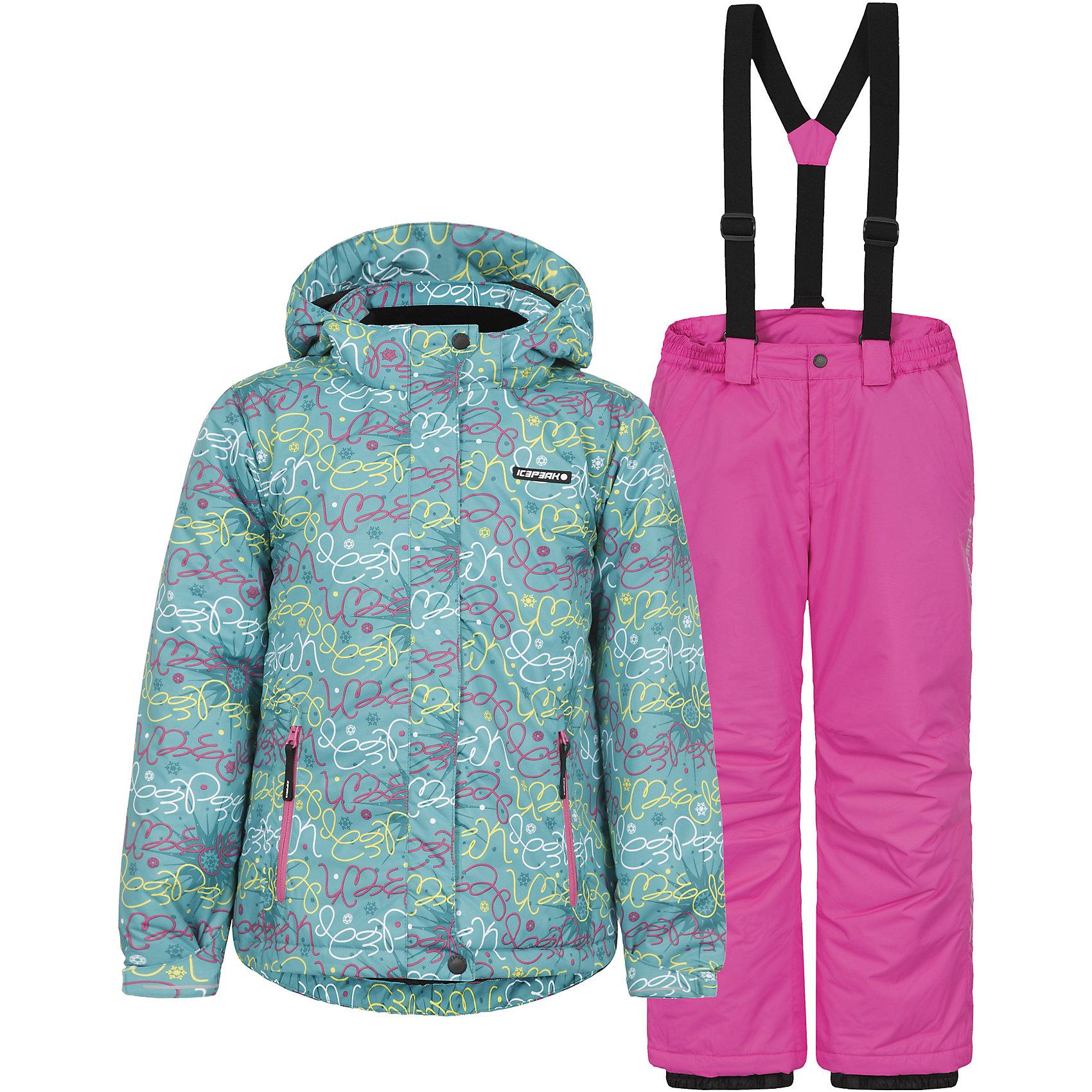 """Комплект: куртка и брюки для девочки ICEPEAKОдежда<br>Комплект: куртка и брюки для девочки ICEPEAK. <br><br>Состав: 100% полиэстер <br><br>Куртка с отстегивающимся капюшоном<br>Молния закрыта планкой, регулируемый рукав на липучке<br>Сформированный локоть, два мягких боковый кармана на молнии <br>Снегозащитная юбка <br>Мягкий и теплый внутренний воротник<br>Утяжка в нижней части куртки, светоотражающие элементы<br>Искусственный утеплитель Finnwad, утепление 200/160 гр.. рекомендованный температурный режим до -25 °.<br> <br>Брюки на отстегивающихся лямках<br>Завышенная талия на спине для комфорта, эластичный пояс<br>Внутренние манжеты с резинкой для  защиты от снега, сформированное колено, искусственный утеплитель Finnwad, утепление 100 гр.  <br><br>Технологии: <br>Icemax, 5000/2000, <br>""""Дышаший"""" и водонепроницаемый материал с характеристиками 5000mm/2000g/m2/24h, надёжно защищают даже в суровых погодных условиях. """"Дышашие"""" свойства изделия позволят чувствовать себя комфортно даже при длительном нахождении на улице.<br>Children's safety<br>Правила безопасности - изделия произведены в полном соответствии с требованиями безопасности для детей: отстегивающийся капюшон, безопасная утягивающаяся тесьма в кармашках, светоотражатели.<br><br>Ширина мм: 356<br>Глубина мм: 10<br>Высота мм: 245<br>Вес г: 519<br>Цвет: зеленый<br>Возраст от месяцев: 180<br>Возраст до месяцев: 192<br>Пол: Женский<br>Возраст: Детский<br>Размер: 176,116,152,164,140,128<br>SKU: 4220906"""