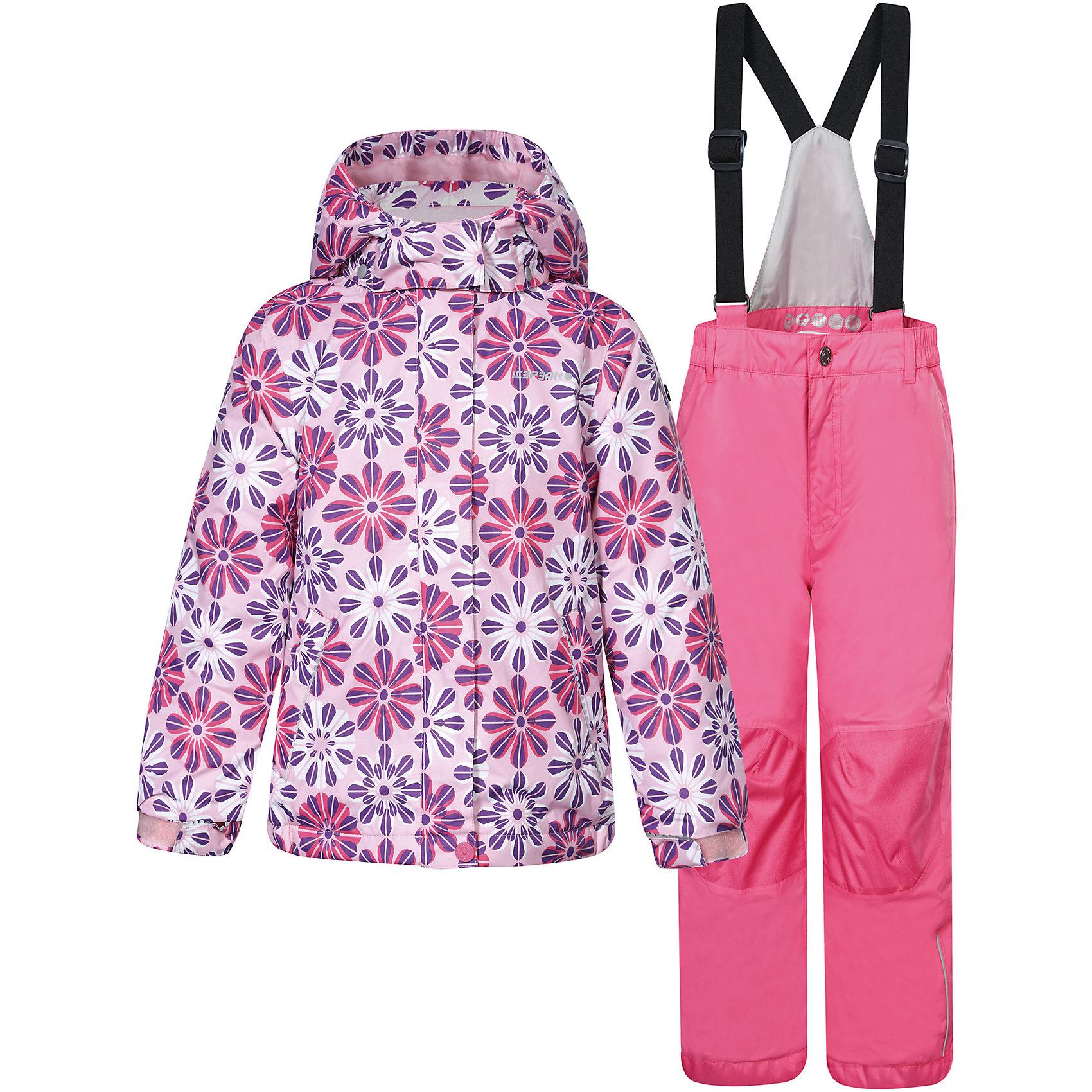 """Комплект: куртка и брюки для девочки ICEPEAKКомплект: куртка и брюки для девочки ICEPEAK. <br><br>Состав: 100% полиэстер <br><br>Куртка с отстегивающимся капюшоном, молния закрыта планкой<br>Регулируемый рукав на липучке, сформированный локоть<br>Два мягких боковый кармана на молнии<br>Мягкий и теплый внутренний воротник<br>Утяжка в нижней части куртки, на рукавах + 3 см. на вырост<br>Искусственный утеплитель Finnwad, утепление 200/160 гр.. рекомендованный температурный режим до -25 °. <br>Все швы прошиты.<br><br>Брюки на лямках со спинкой<br>Завышенная талия по спине для комфорта<br>Эластичный пояс<br>Сформированное колено<br>Утяжка в нижней части брюк, усиленное колено и задняя часть брюк<br>Искусственный утеплитель Finnwad, утепление 120 гр.  <br><br>Технологии: <br>Icemax, 5000/2000, <br>""""Дышаший"""" и водонепроницаемый материал с характеристиками 5000mm/2000g/m2/24h, надёжно защищают даже в суровых погодных условиях. """"Дышашие"""" свойства изделия позволят чувствовать себя комфортно даже при длительном нахождении на улице.<br>Children's safety<br>Правила безопасности - изделия произведены в полном соответствии с требованиями безопасности для детей: отстегивающийся капюшон, безопасная утягивающаяся тесьма в кармашках, светоотражатели.<br><br>Ширина мм: 356<br>Глубина мм: 10<br>Высота мм: 245<br>Вес г: 519<br>Цвет: розовый<br>Возраст от месяцев: 18<br>Возраст до месяцев: 24<br>Пол: Женский<br>Возраст: Детский<br>Размер: 92,98,110,122,116,104<br>SKU: 4220941"""